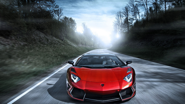 Full HD Red Lamborghini Aventador 2018 Wallpaper