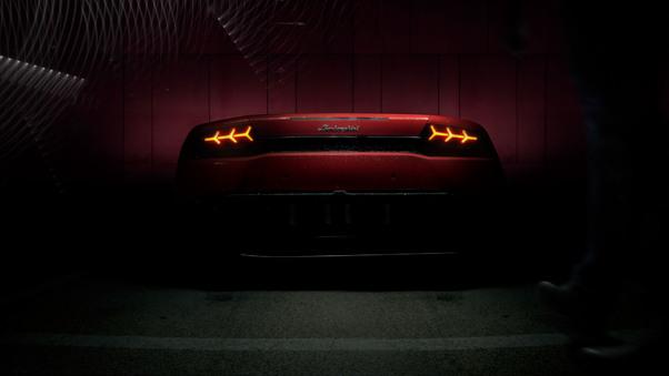 Full HD Red Lamborghini Huracan Rear Lights Wallpaper