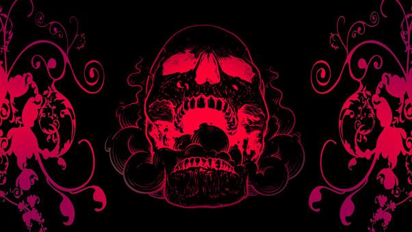 Red Skull Flowers Black Background 4k Hd Artist 4k