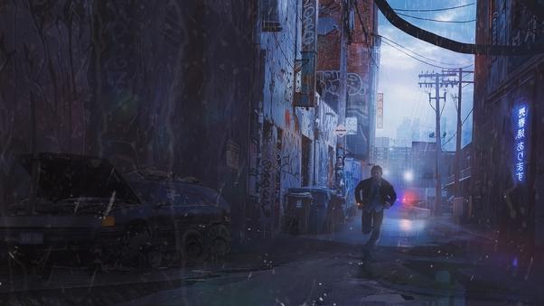 Scifi Cyberpunk Running Man Hd Artist 4k Wallpapers