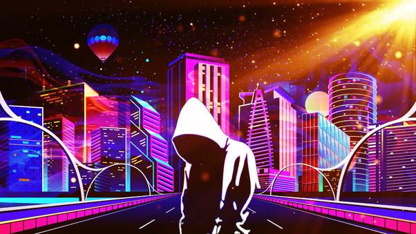 Scifi Neon Anonymus Future City 4k, HD Artist, 4k ...