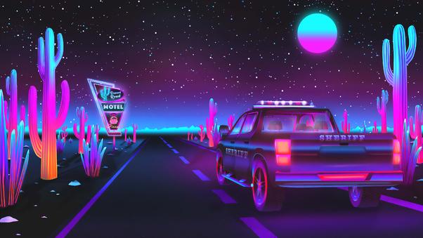 Full HD Retrowave Supercar Wallpaper