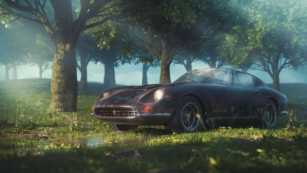 Full HD Vintage Ferrari In The Jungle Wallpaper