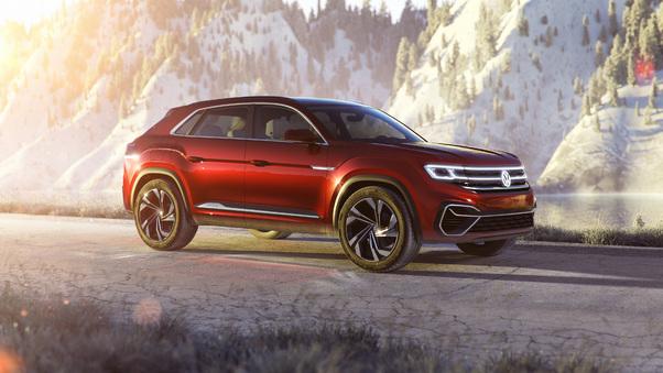 Full HD Volkswagen Atlas Cross Sport Concept 2018 Wallpaper
