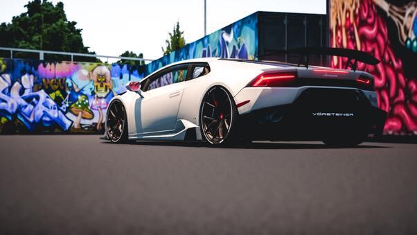 Full HD Blue Lamborghini Huracan 4k Rear Wallpaper