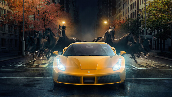 Full HD Yellow Ferrari 488 Gtb Horses Behind Wallpaper