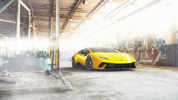 Full HD Yellow Lamborghini Huracan 2018 Wallpaper