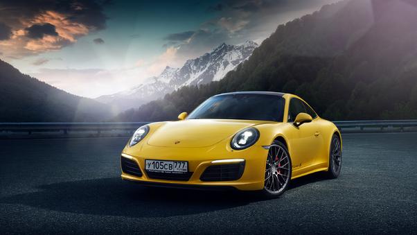 Full HD Porsche Golden Rims 4k Wallpaper