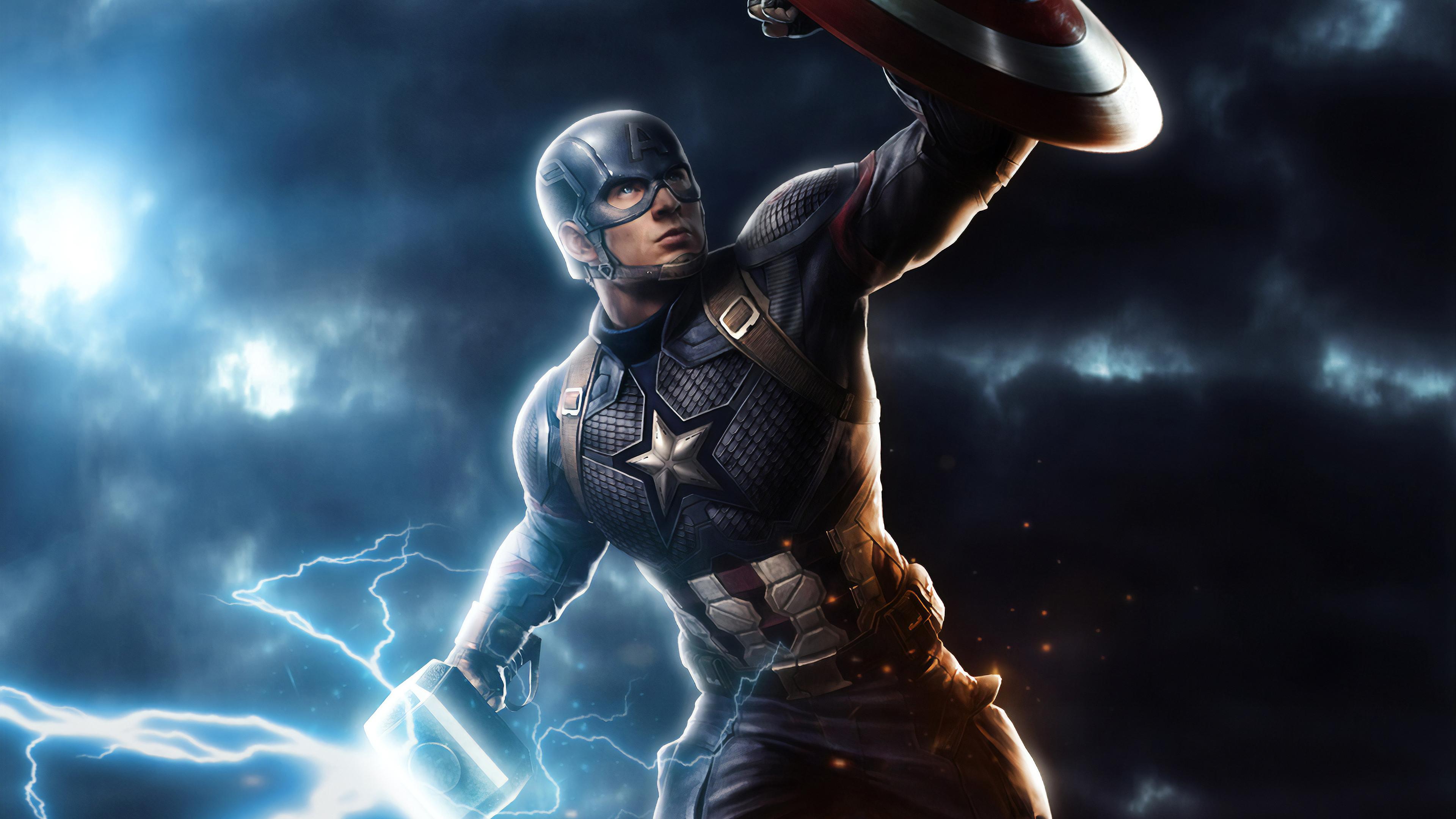 Captain America Mjolnir Avengers Endgame 4k Art Hd Superheroes