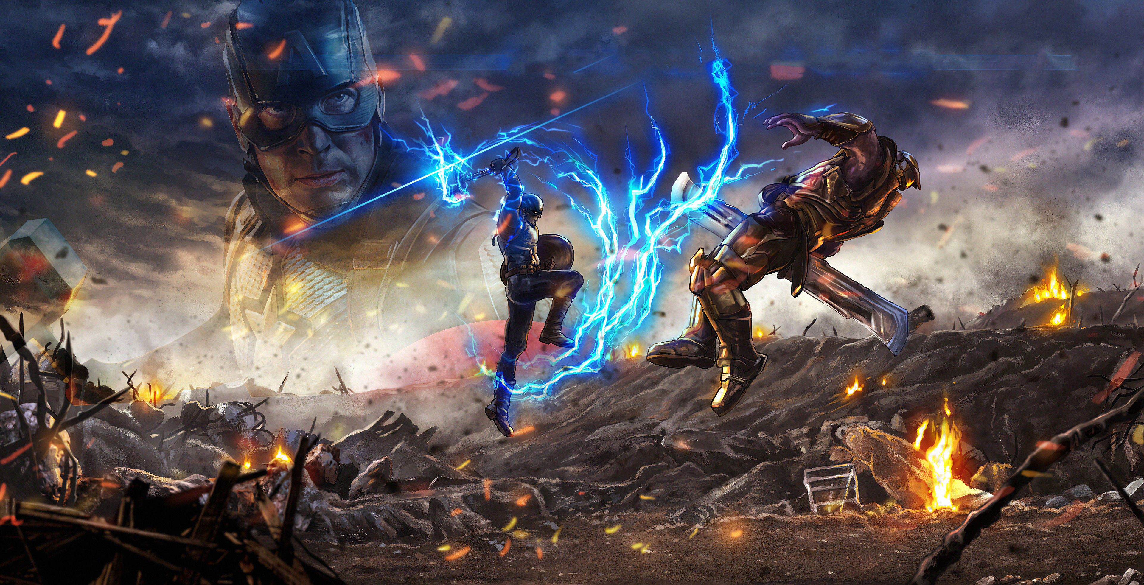 Captain America Vs Thanos Hd Superheroes 4k Wallpapers Images