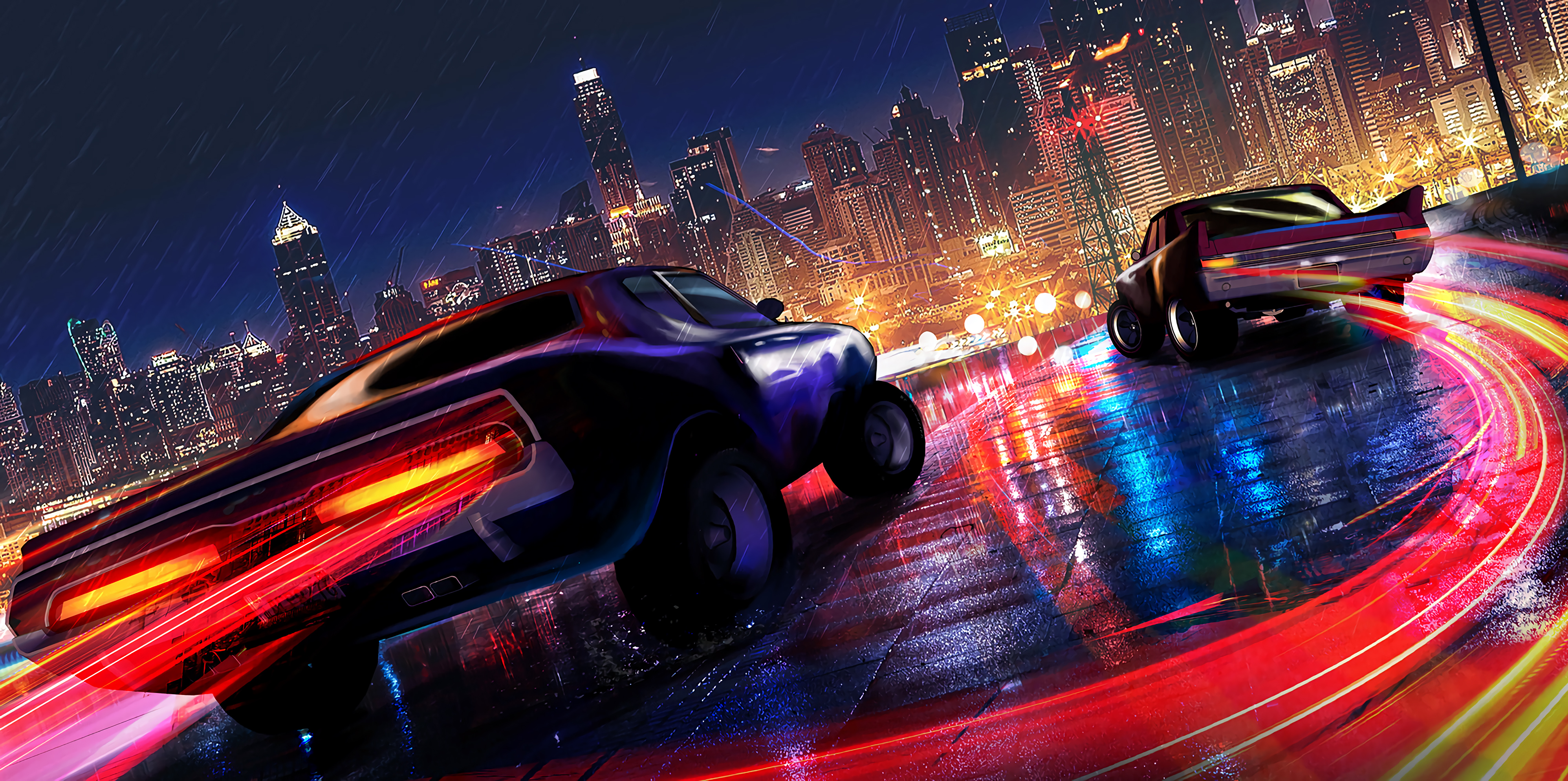 Car Drifting Neon Lights 4k Hd Artist 4k Wallpapers Images Backgrounds Photos And Pictures