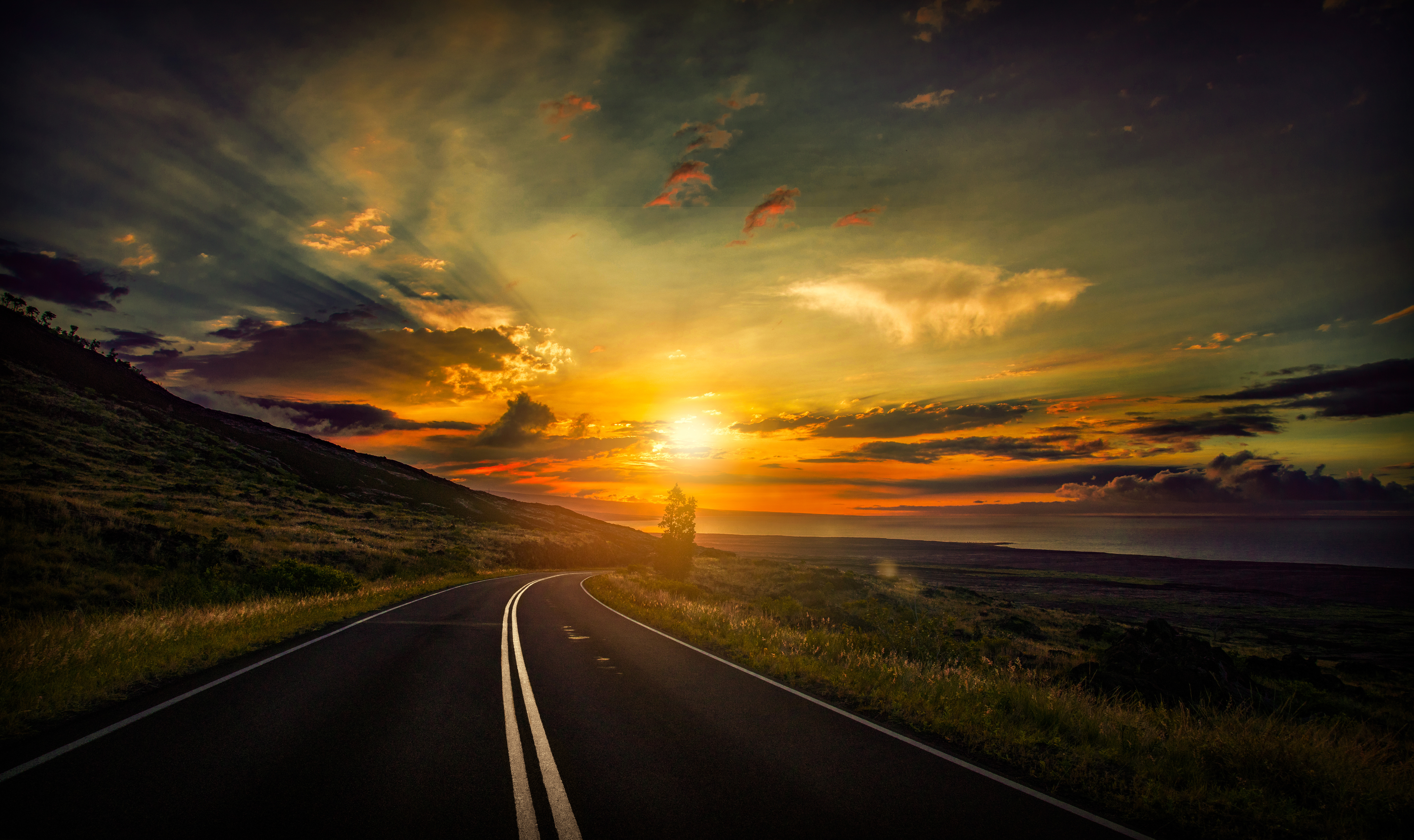 2560x1080 Cool Sunset Road View 8k 2560x1080 Resolution Hd 4k Wallpapers Images Backgrounds Photos And Pictures