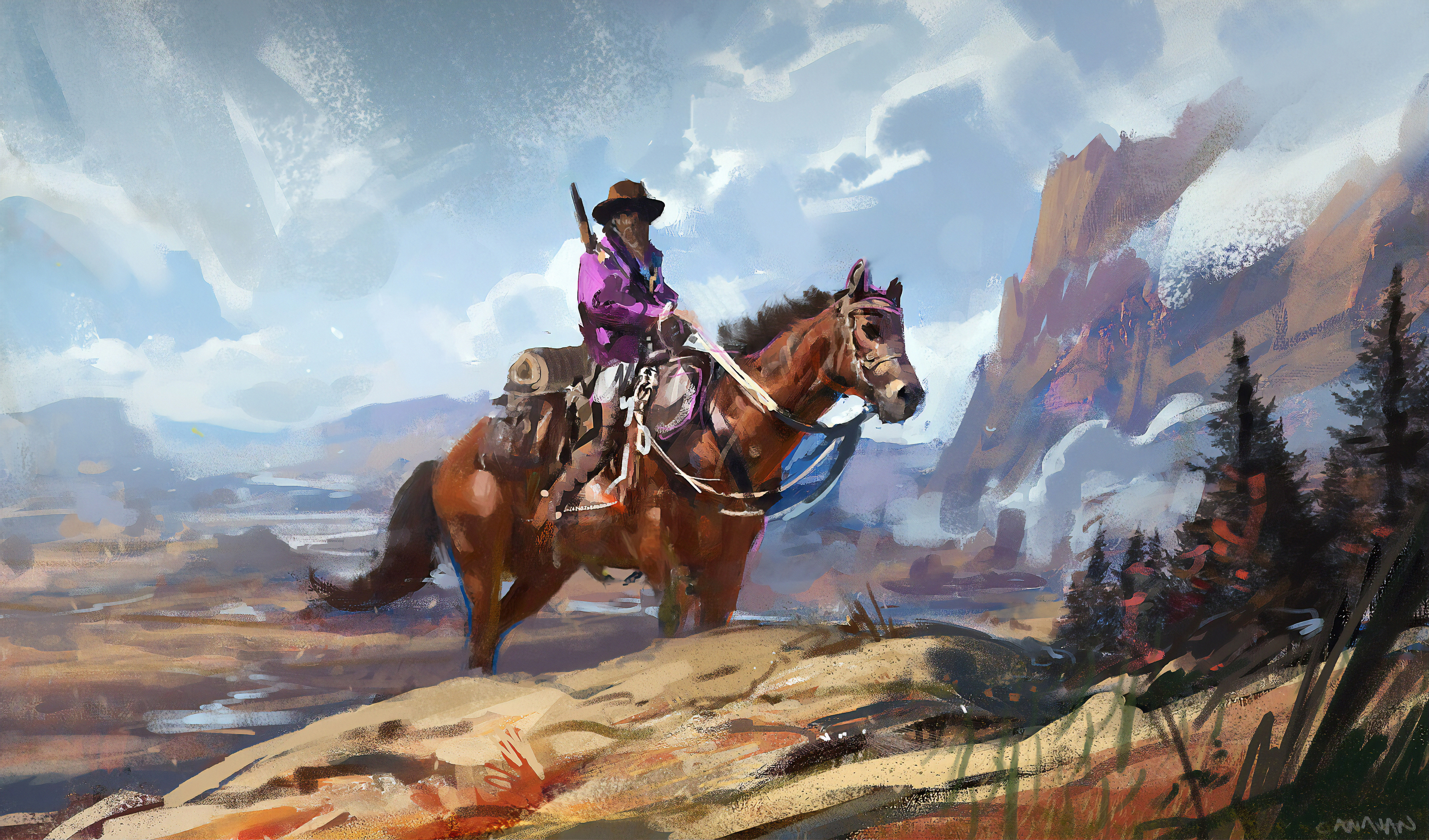 Cowboy On Horse Art Hd Artist 4k Wallpapers Images Backgrounds