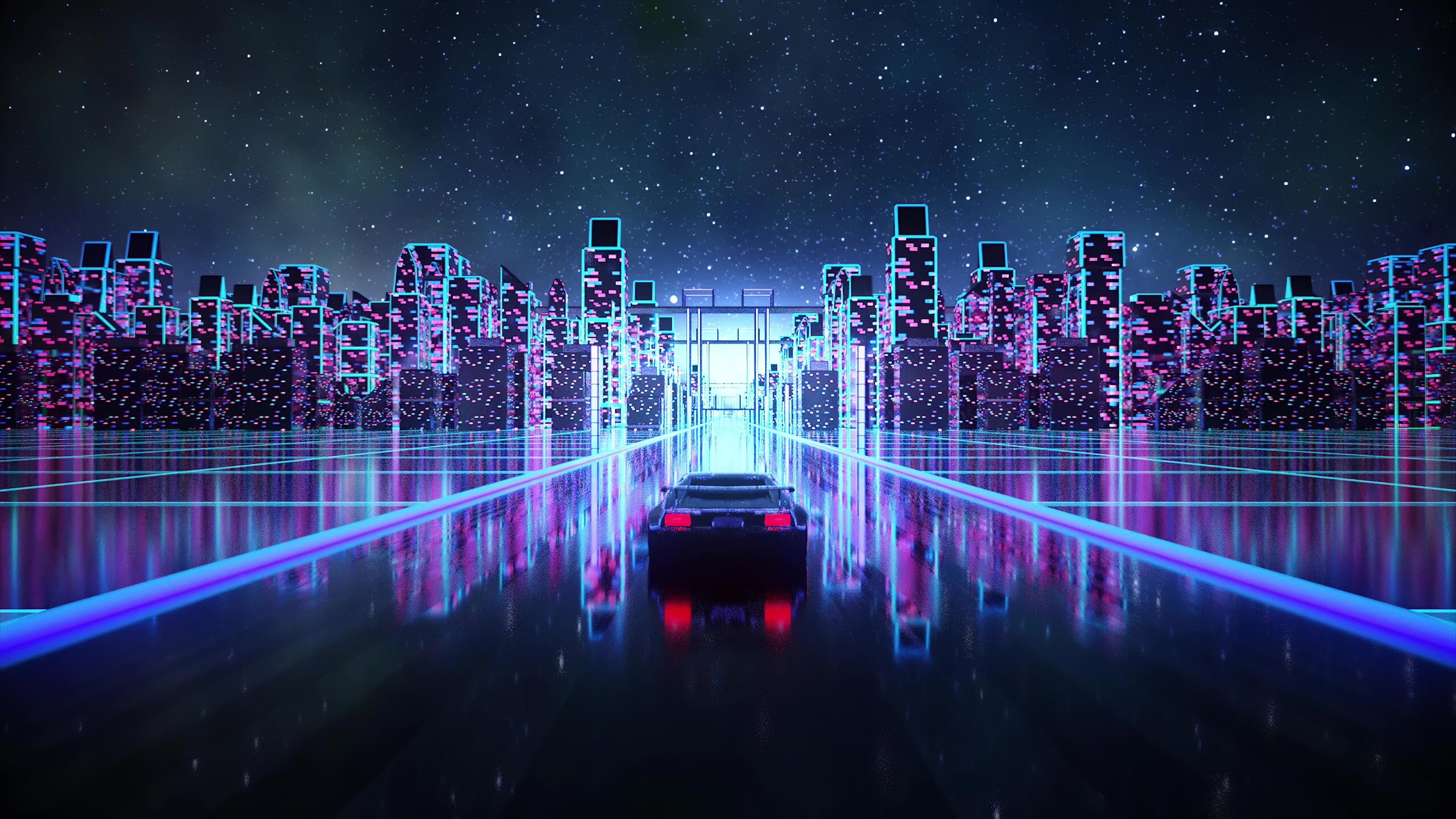 Cyber Outrun Vaporwave Synth Retro Car 4k, HD Artist, 4k ...