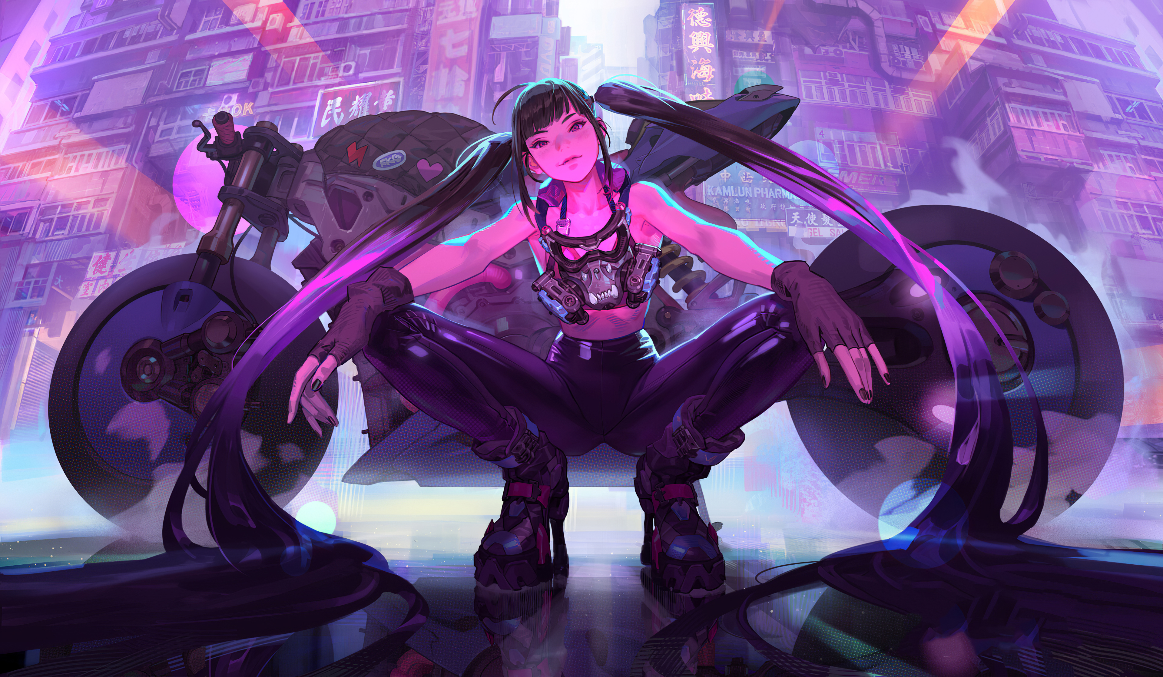 Cyberpunk Girl Bike 4k Artwork Hd Artist 4k Wallpapers Images Backgrounds Photos And Pictures