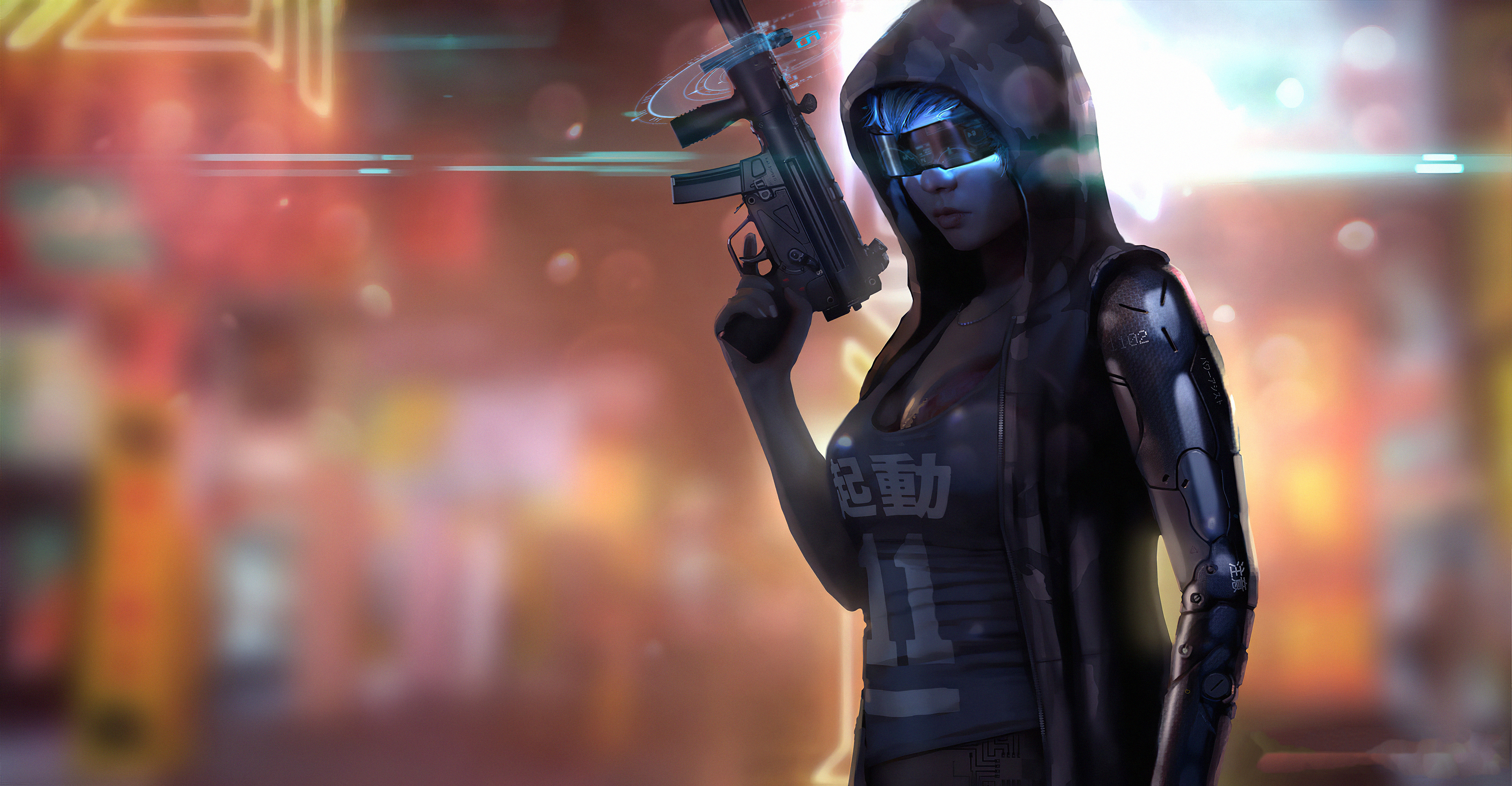 Cyberpunk Girl Gun 4k Hd Artist 4k Wallpapers Images Backgrounds Photos And Pictures