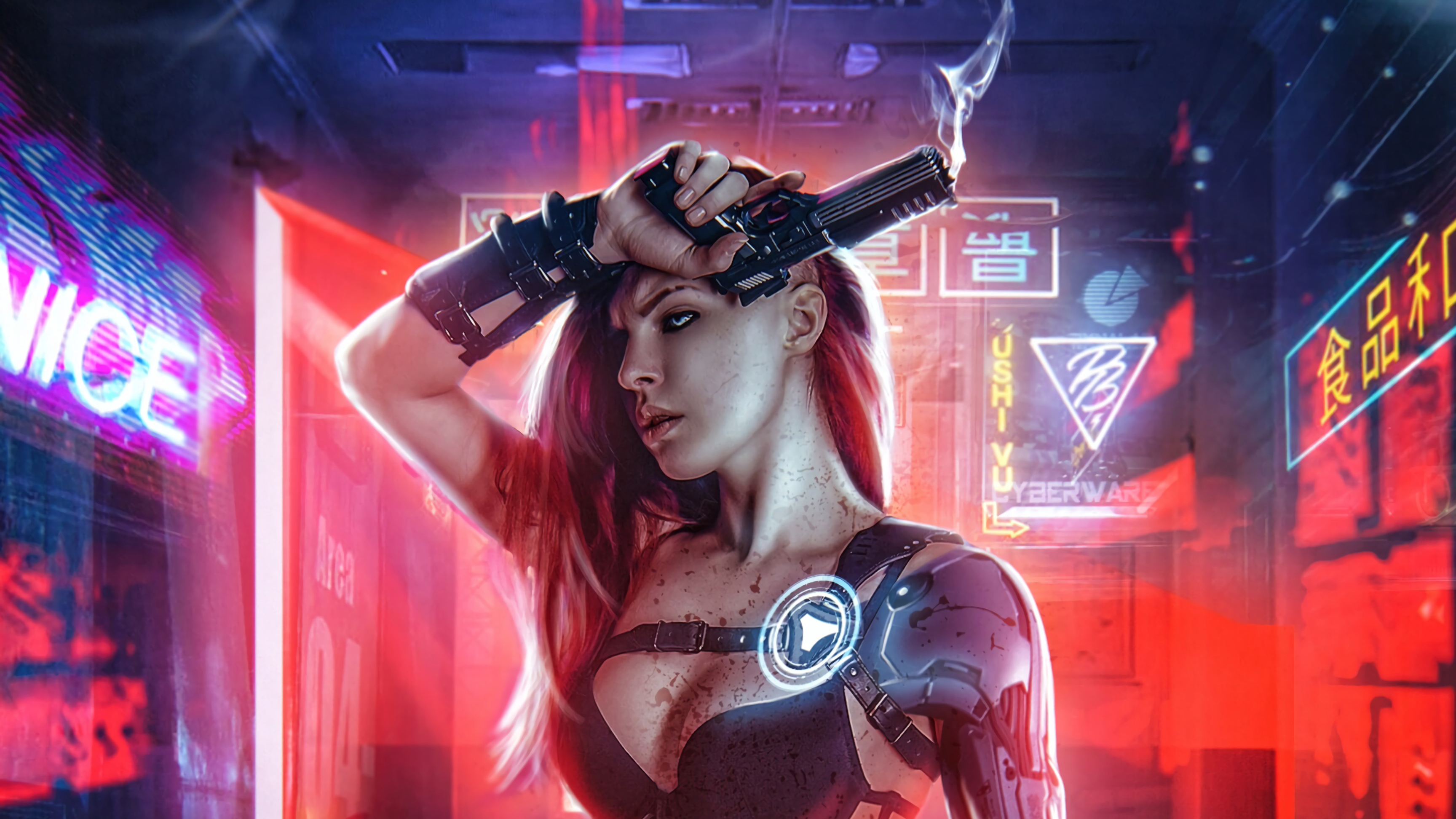 Cyberpunk Girl With Gun 4k Hd Artist 4k Wallpapers Images Backgrounds Photos And Pictures