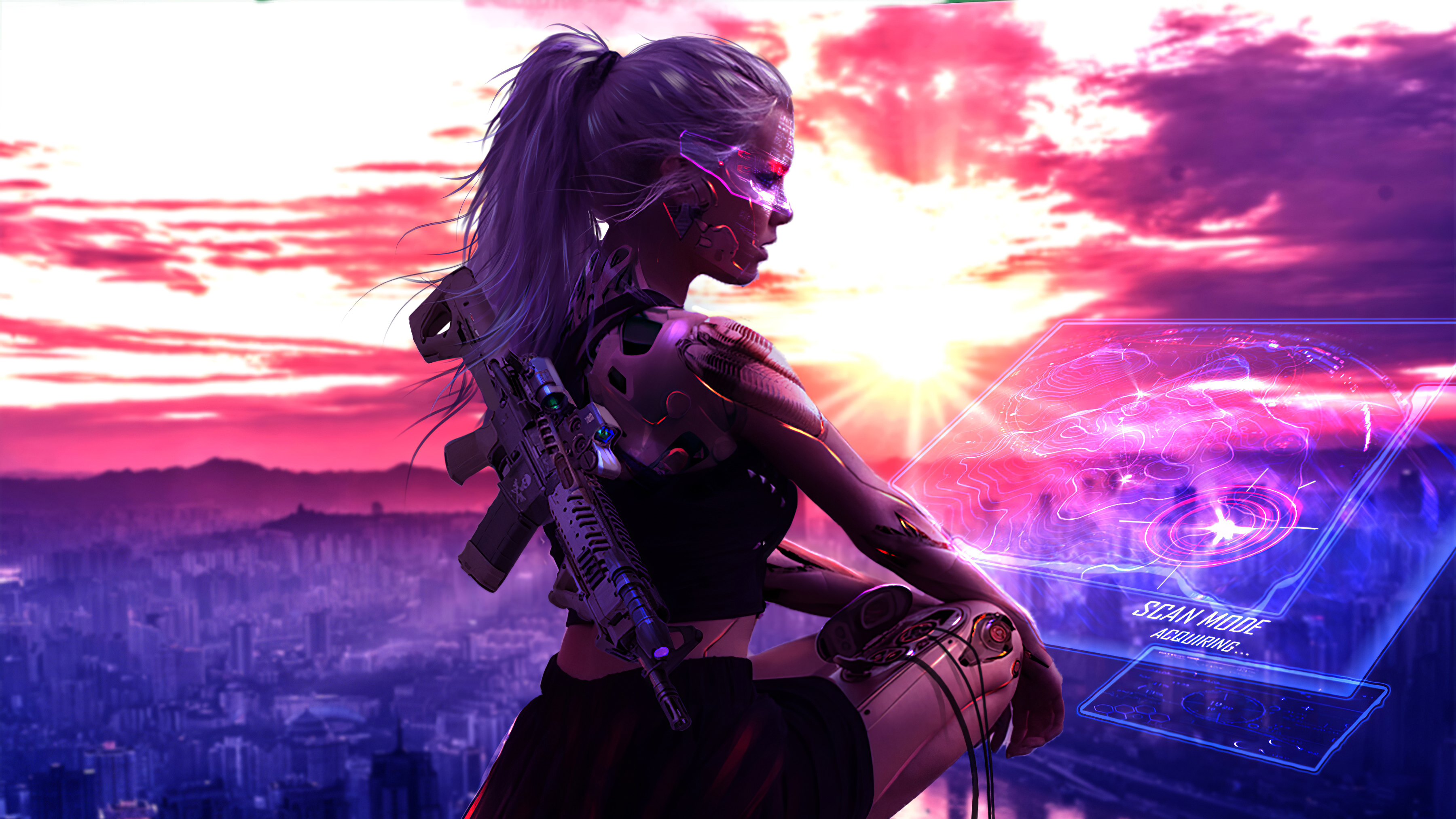Cyberpunk Girl With Gun 4k Artwork Hd Artist 4k Wallpapers Images Backgrounds Photos And Pictures