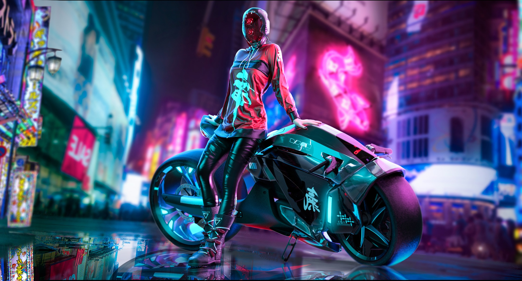 Cyberpunk Scifi Girl With Motorcycle Hd Artist 4k Wallpapers Images Backgrounds Photos And Pictures