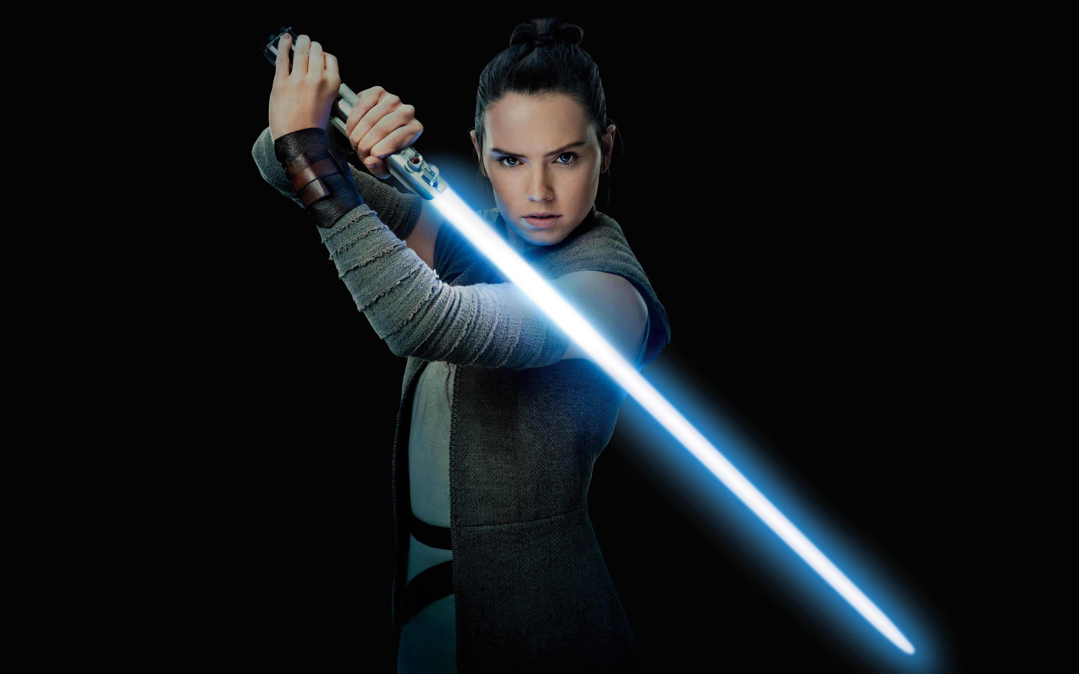 daisy ridley as rey star wars in the last jedi 4k