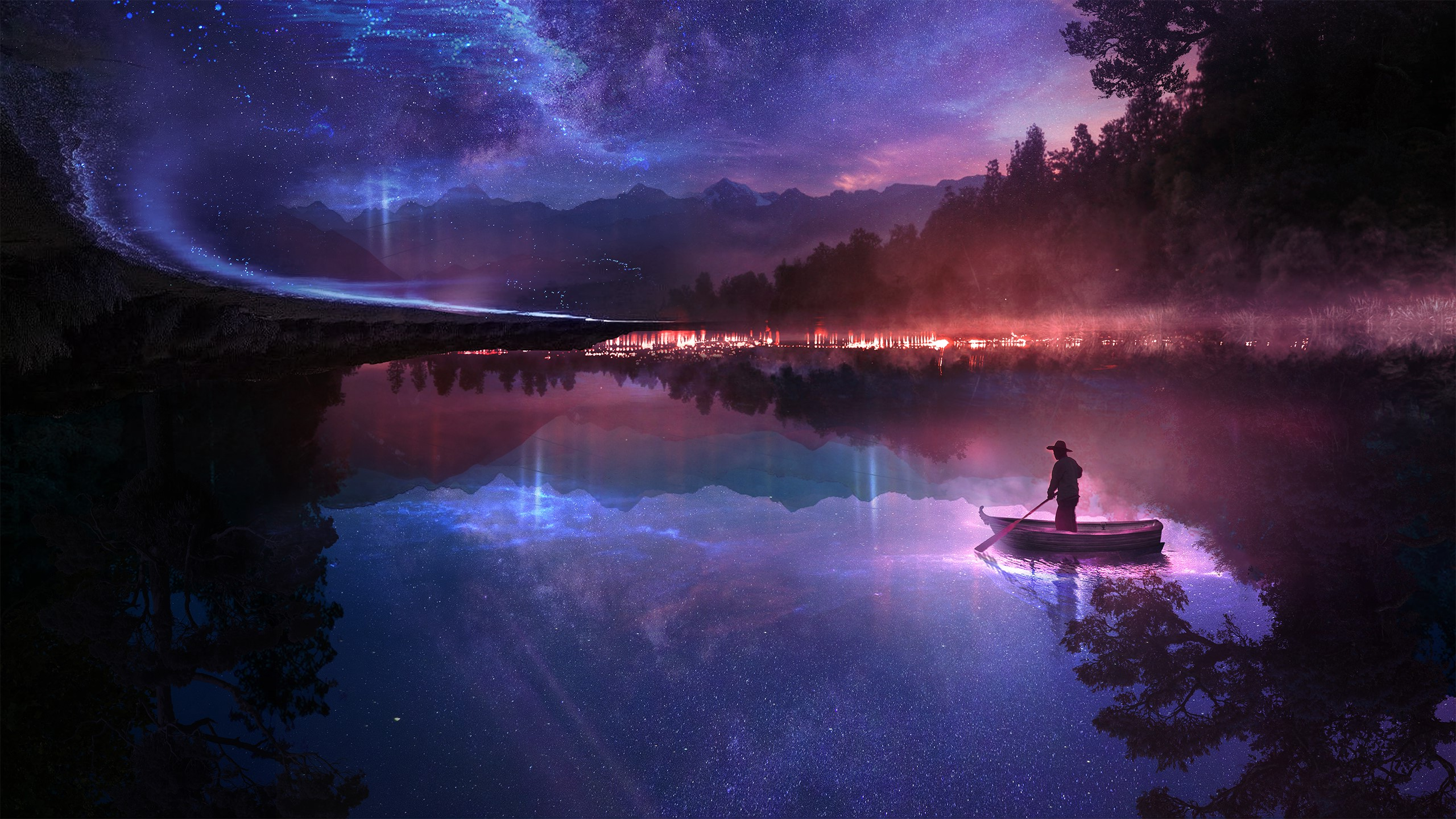 2560x1700 Fantasy Dreamy World Guy On Boat Chromebook Pixel