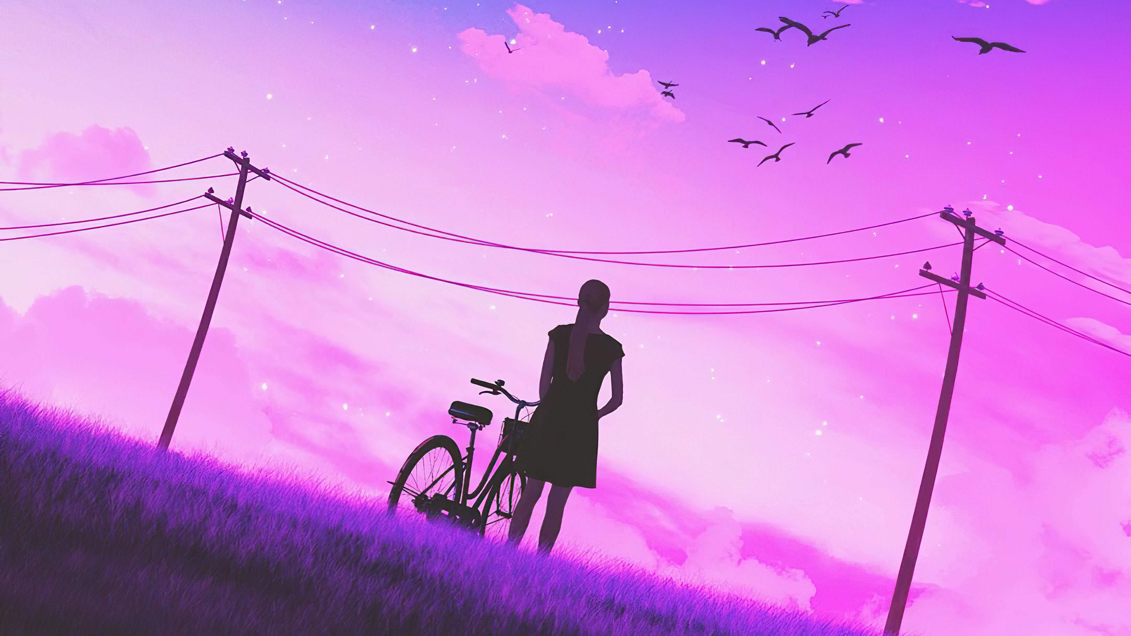 Girl Bicycle Vaporwave Art 4k Hd Artist 4k Wallpapers Images Backgrounds Photos And Pictures