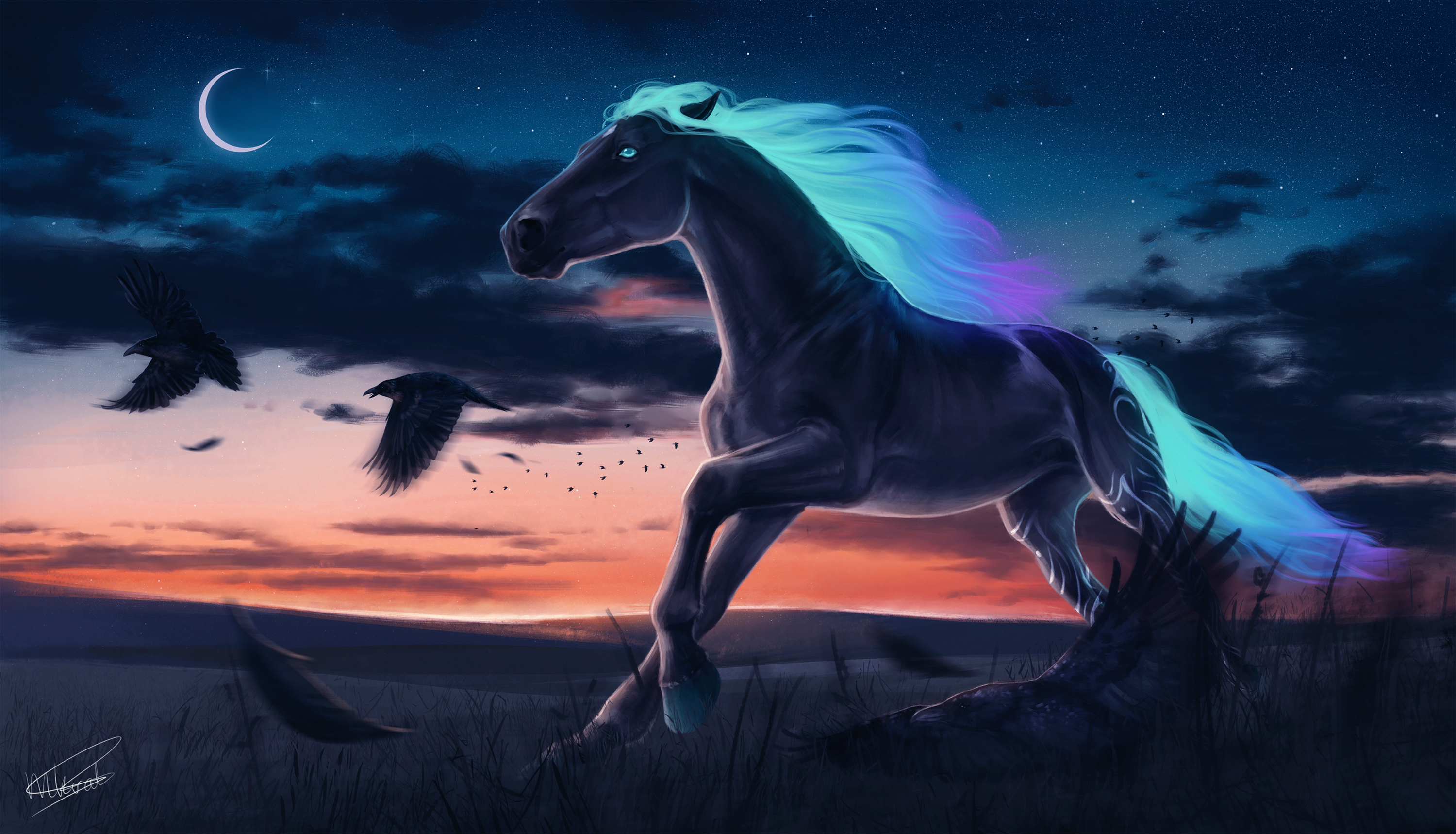 1366x768 Horse Magic Moon Digital Art 1366x768 Resolution Hd 4k Wallpapers Images Backgrounds Photos And Pictures
