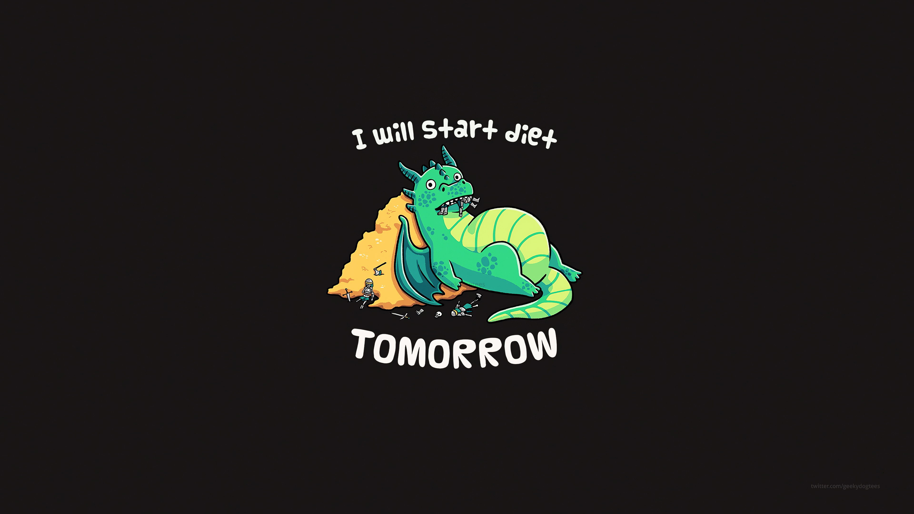 1336x768 I Will Start Diet Tomorrow Funny Dragon 4k Laptop Hd Hd 4k Wallpapers Images Backgrounds Photos And Pictures