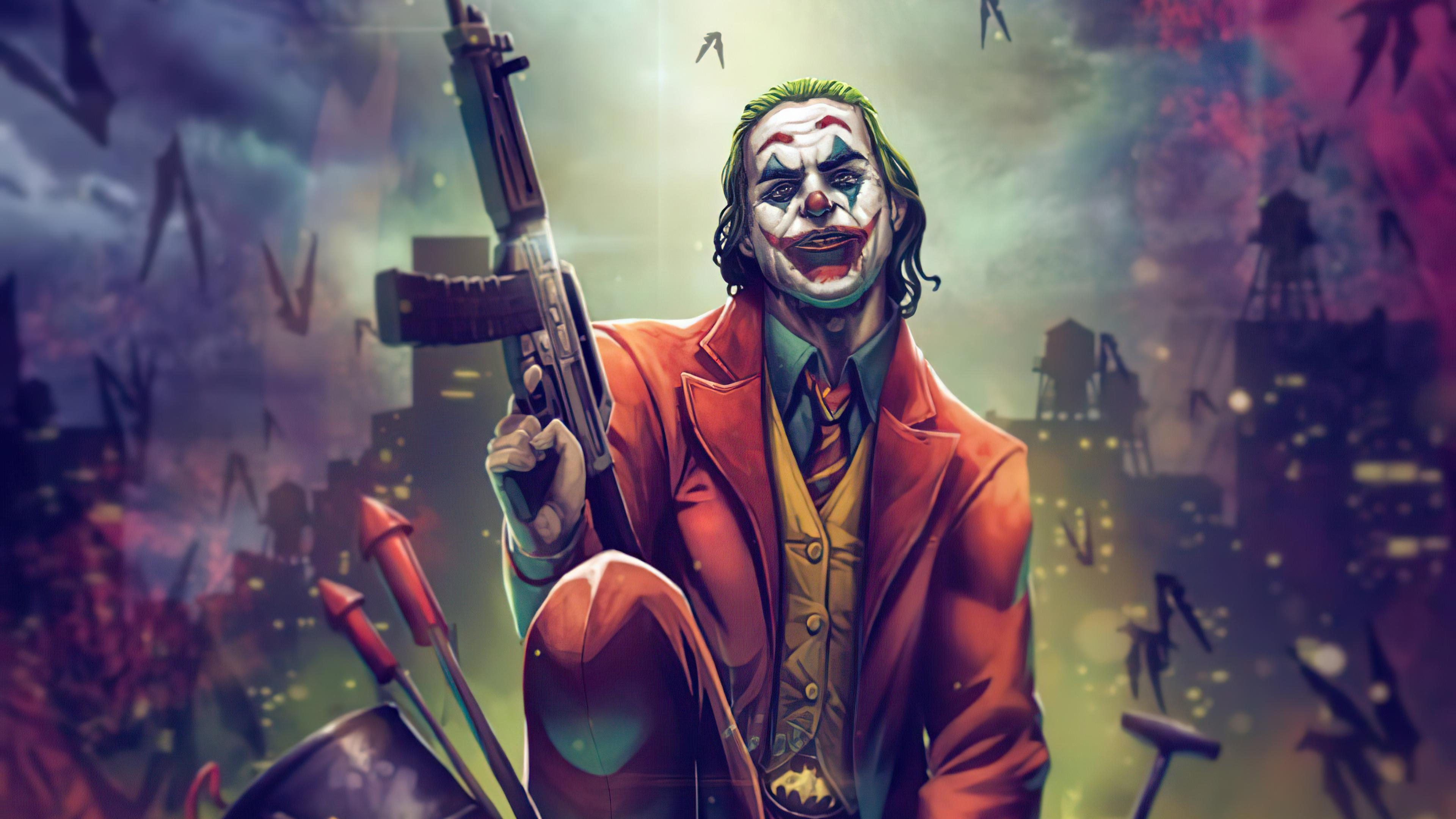 1366x768 Joker With Gun Up 4k 1366x768 Resolution HD 4k ...