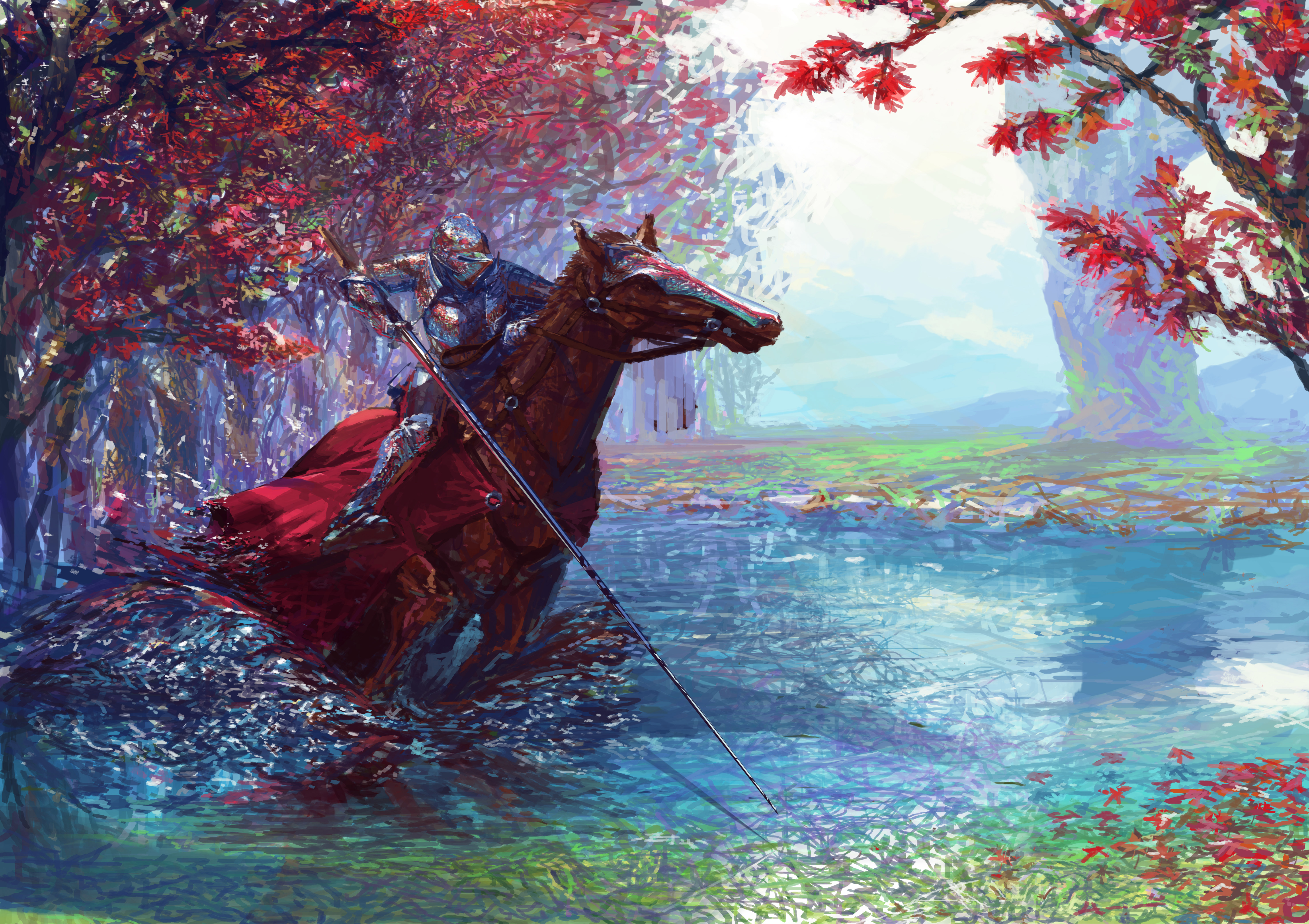 Knight On Horse With Sword 5k Hd Artist 4k Wallpapers Images Backgrounds Photos And Pictures