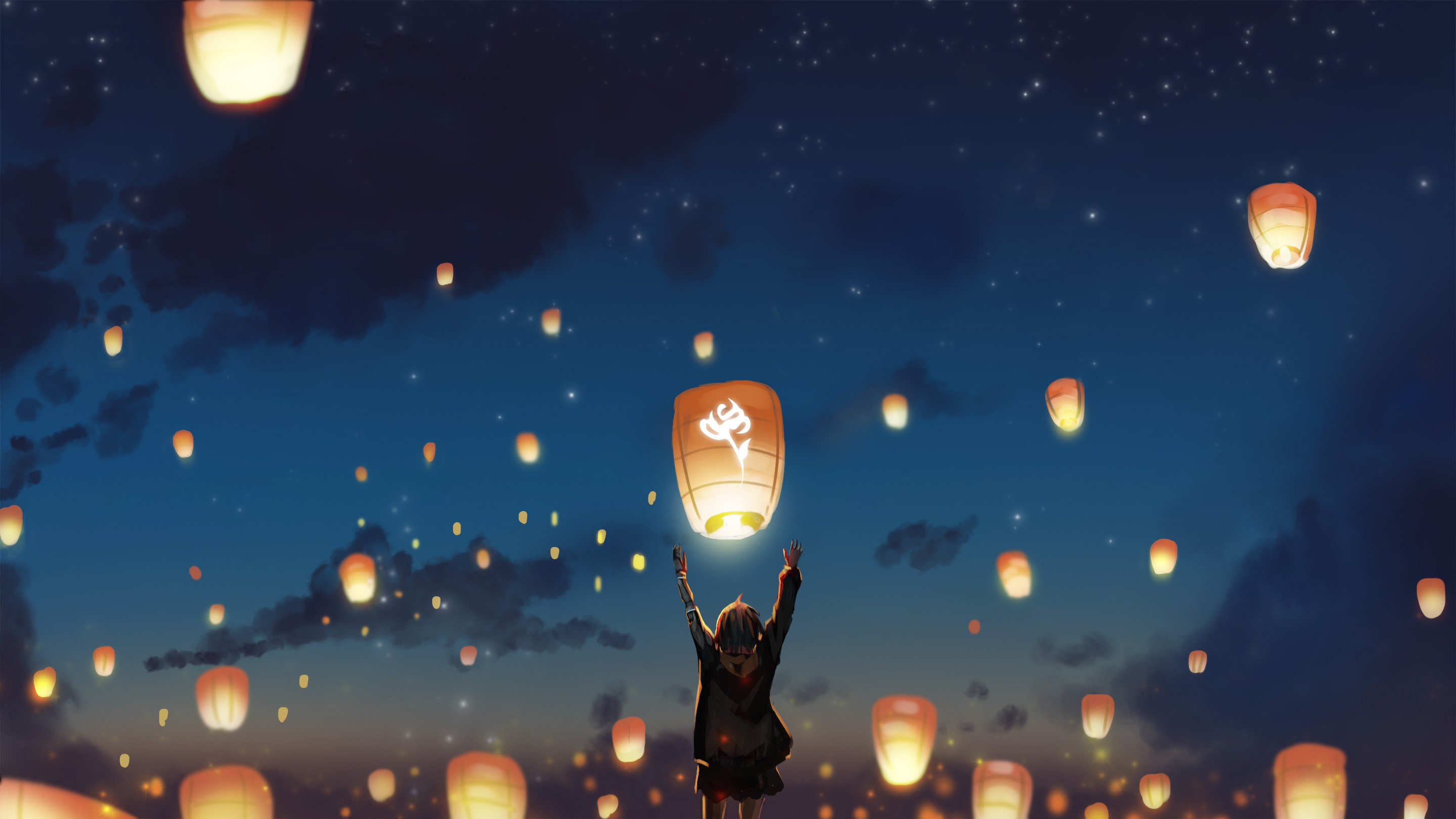 Lantern Night Clouds Lights Anime Stars Hd Anime 4k Wallpapers Images Backgrounds Photos And Pictures