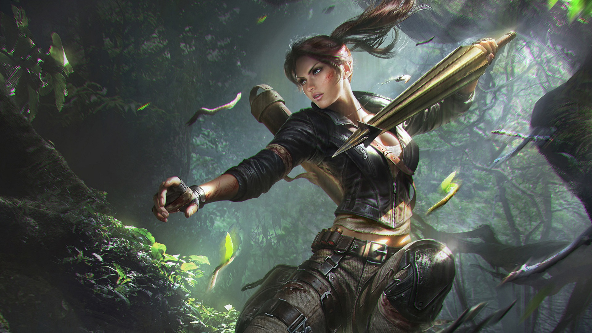 1366x768 Lara Croft Tomb Riader Digital Art 1366x768