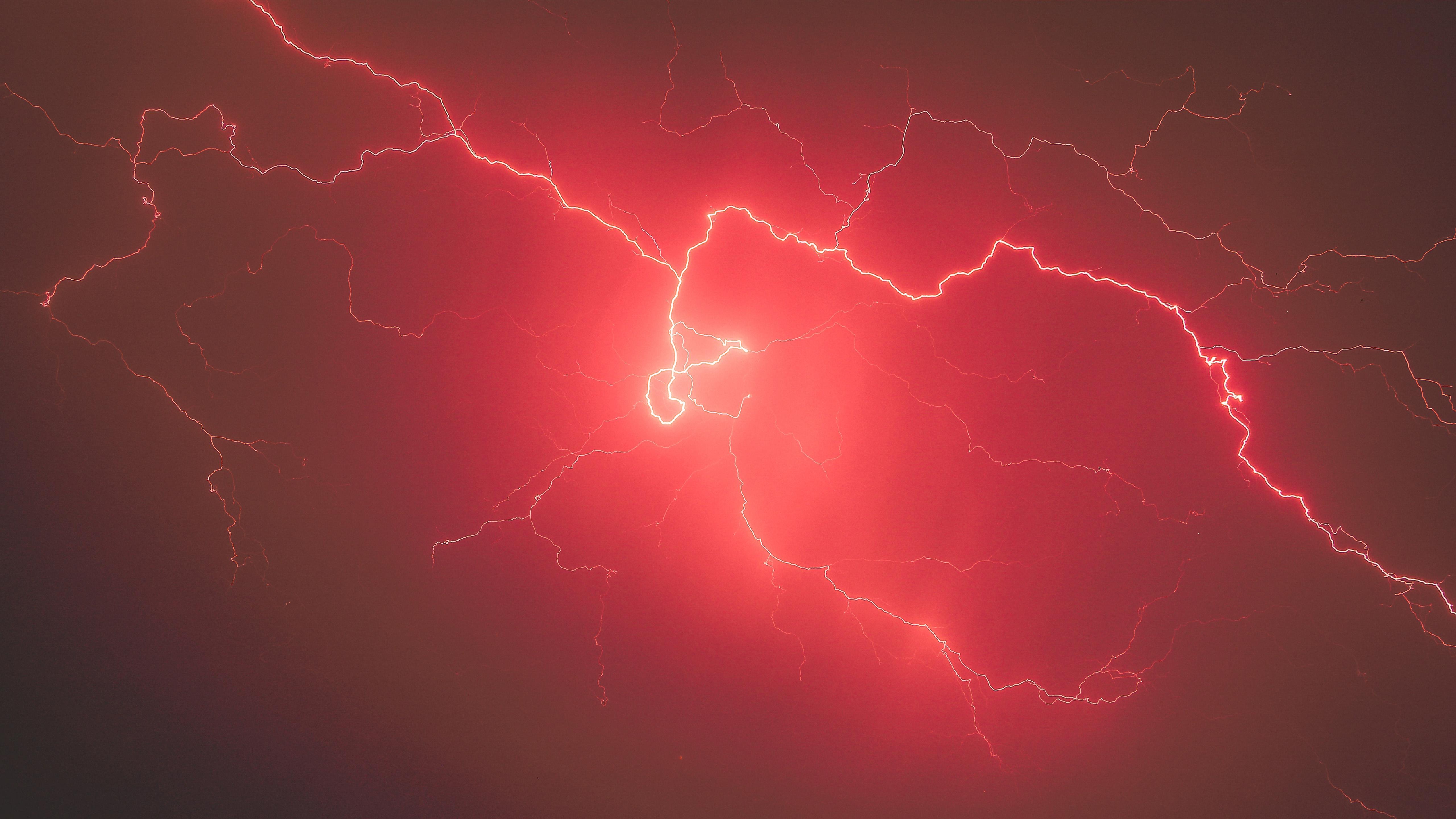Lightning Storm Red Sky 5k Hd Nature 4k Wallpapers Images