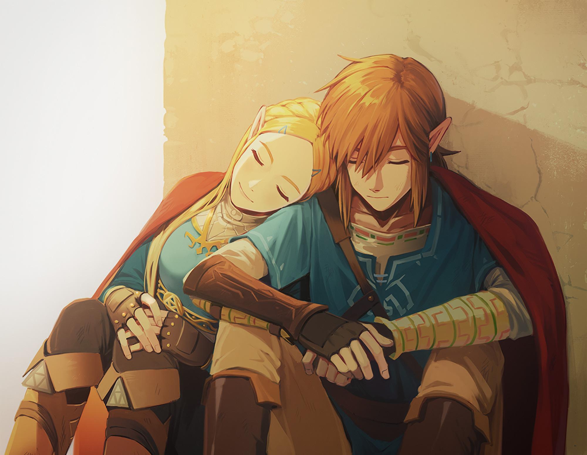 Link And Zelda In The Legend Of Zelda Breath Of The Wild