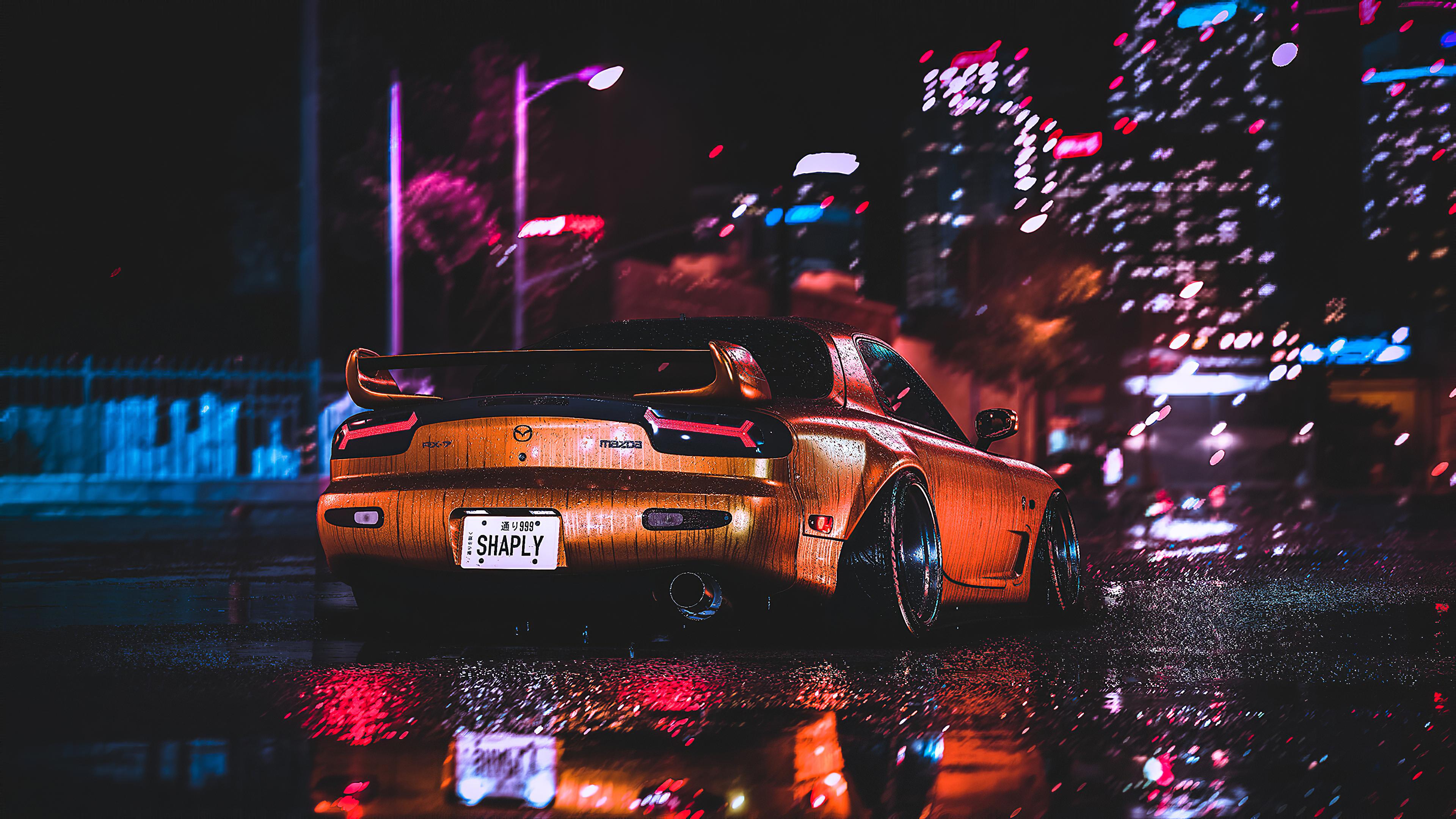 Mazda Rx7 City Night Lights 4k, HD Cars, 4k Wallpapers ...