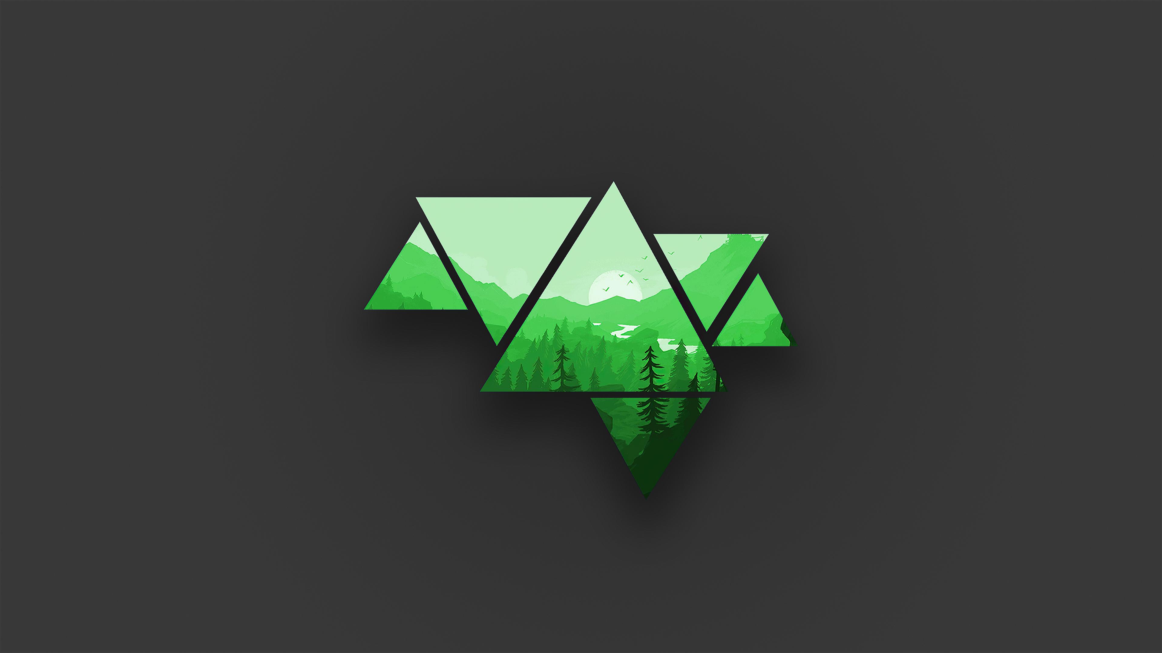 Minimalist Mountains Green 4k, HD Artist, 4k Wallpapers ...