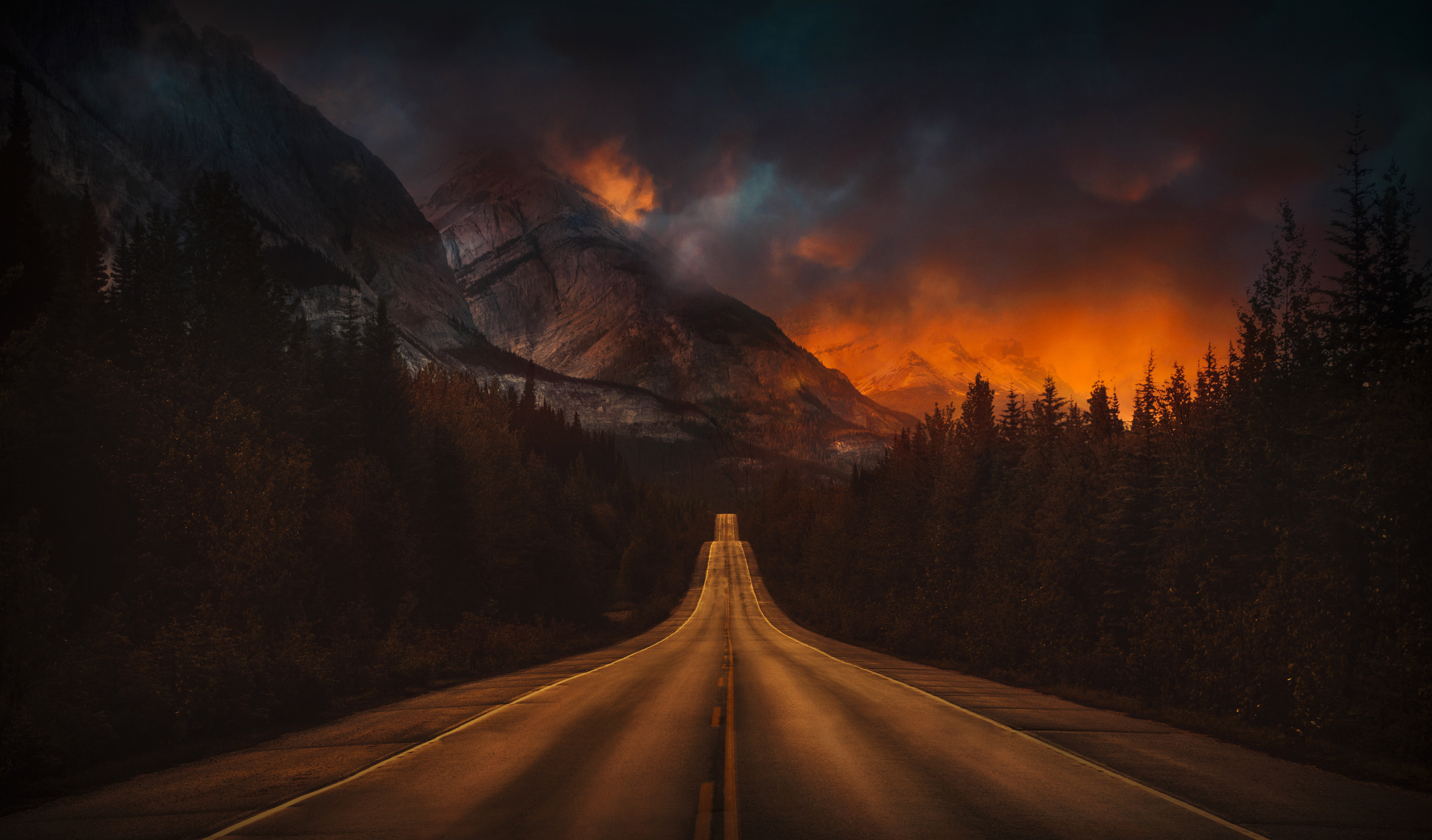 1366x768 Mountain Nature Night Road 4k 1366x768 Resolution Hd 4k Wallpapers Images Backgrounds Photos And Pictures
