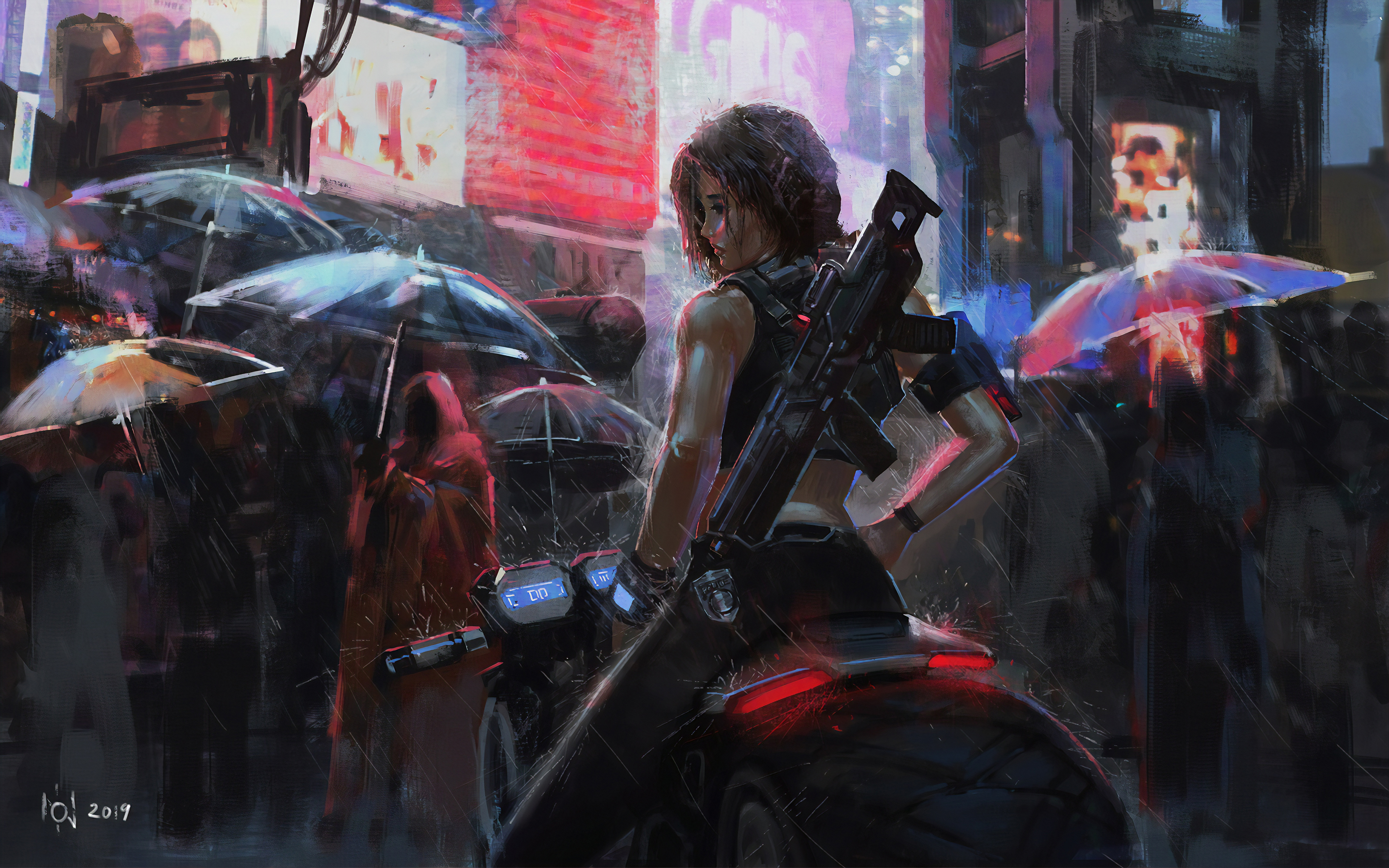 Neon Biker Girl Rain 4k Hd Anime 4k Wallpapers Images Backgrounds Photos And Pictures