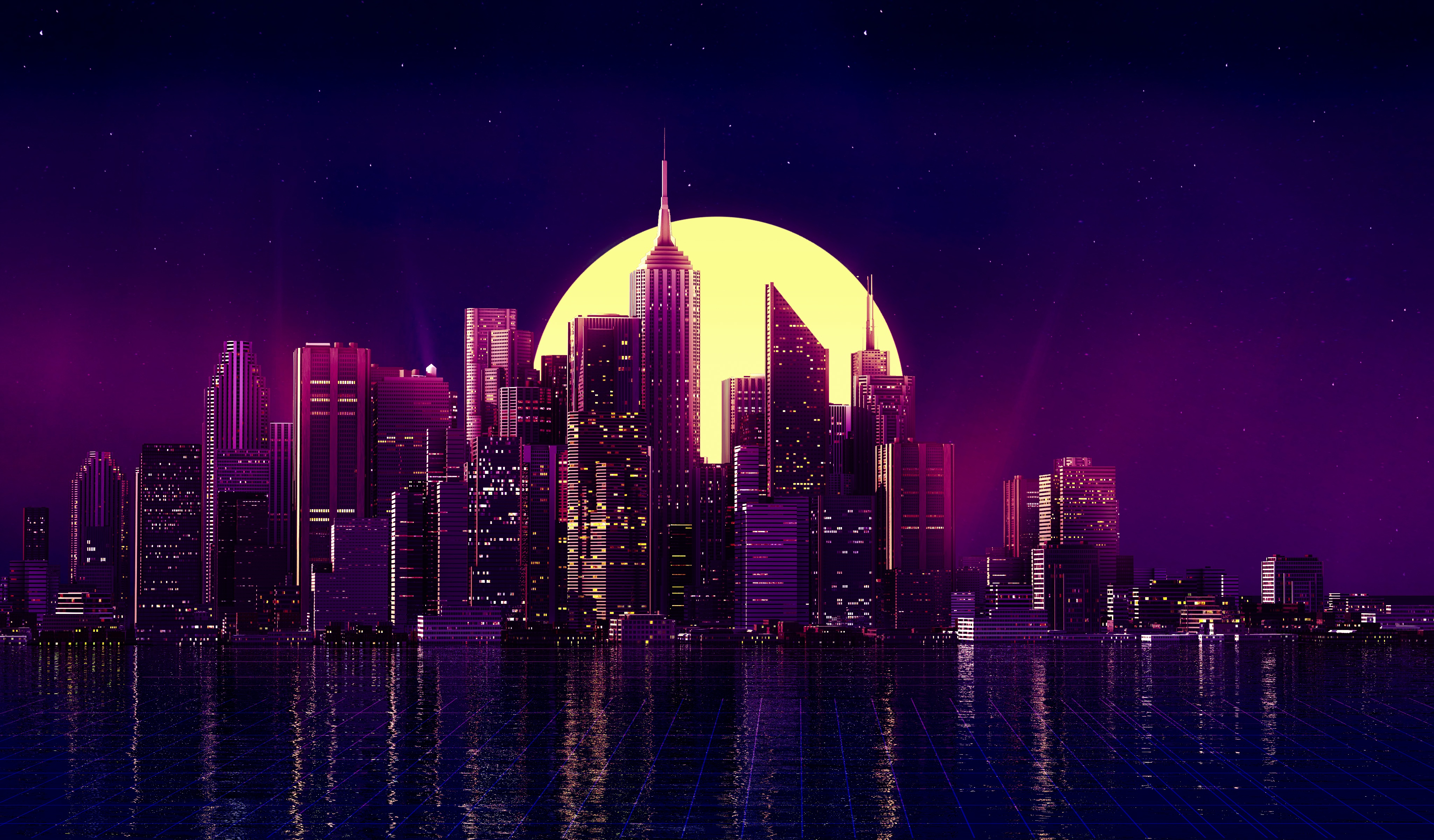 Neon City Buildings Reflection Skycrapper Minimalism 4k Hd Artist 4k Wallpapers Images Backgrounds Photos And Pictures