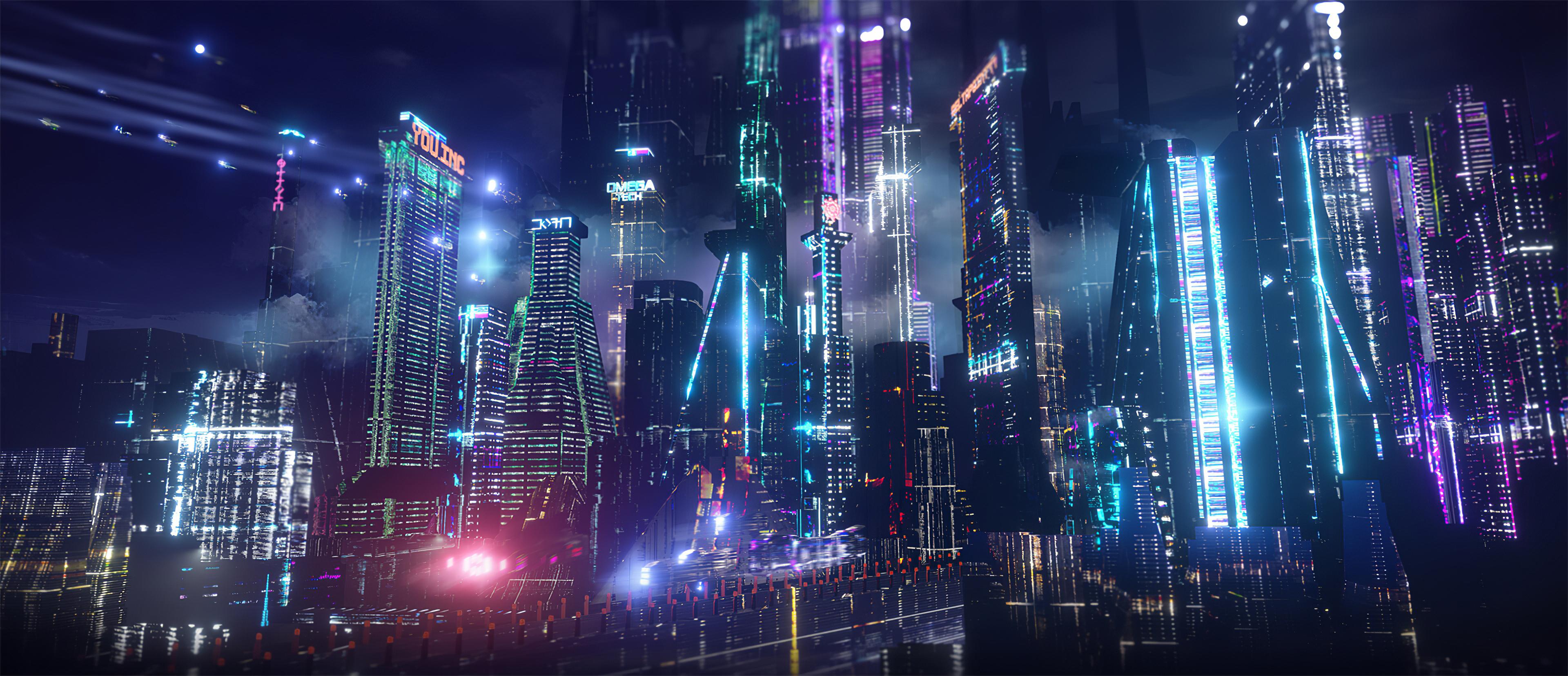 neon city lights 4k u3