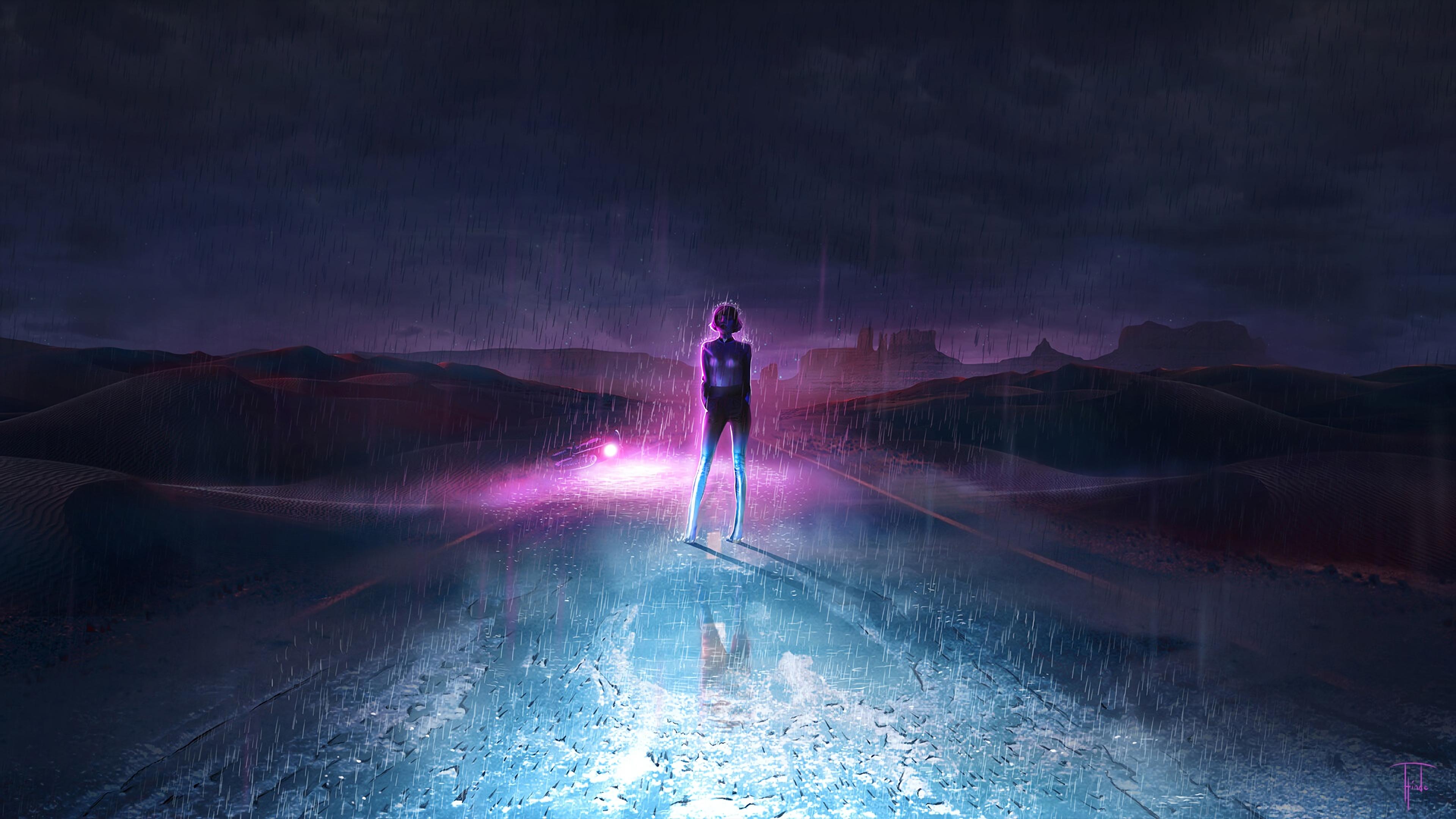 Neon Dark Sky Road 4k Hd Artist 4k Wallpapers Images