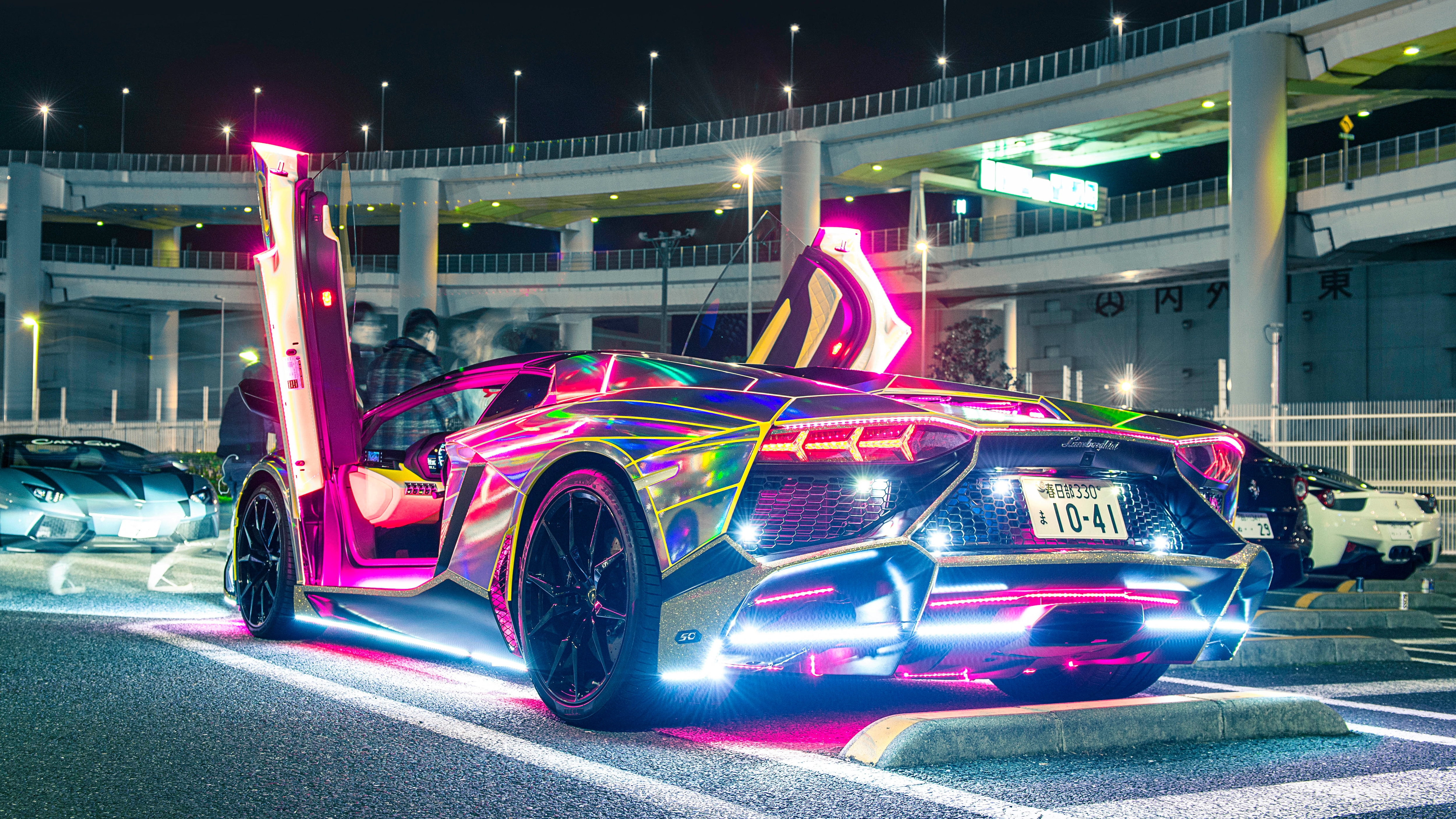 Neon Lights Lamborghini, HD Cars, 4k