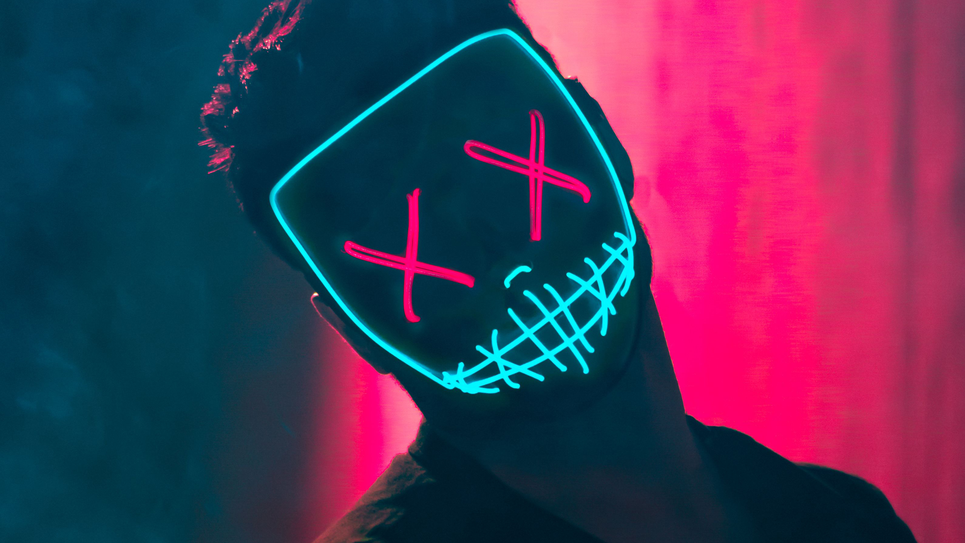 Neon Mask Guy Hd Photography 4k Wallpapers Images Backgrounds Photos And Pictures