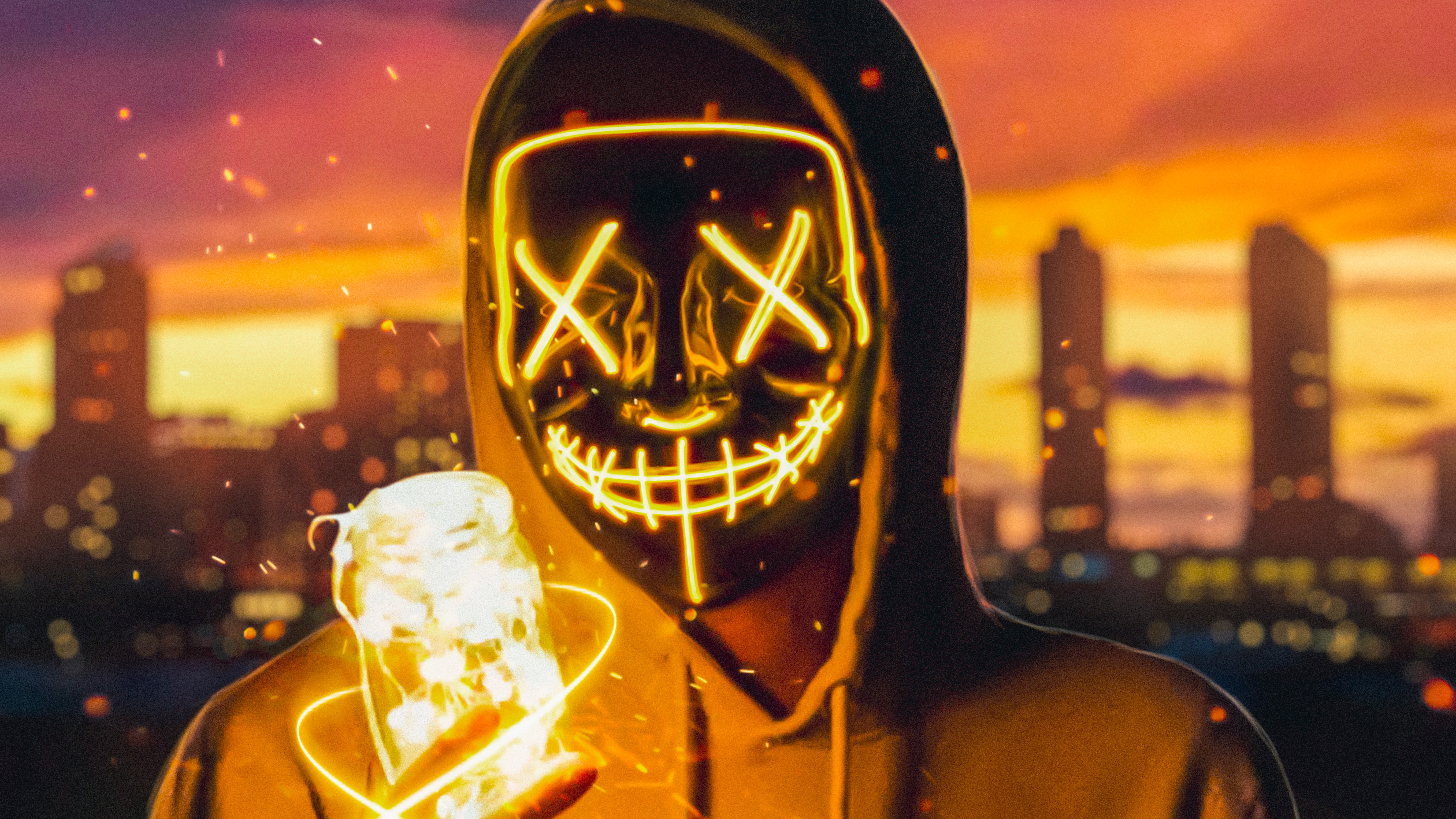 1600x900 Neon Mask Guy With Light Cube 1600x900 Resolution Hd 4k Wallpapers Images Backgrounds Photos And Pictures