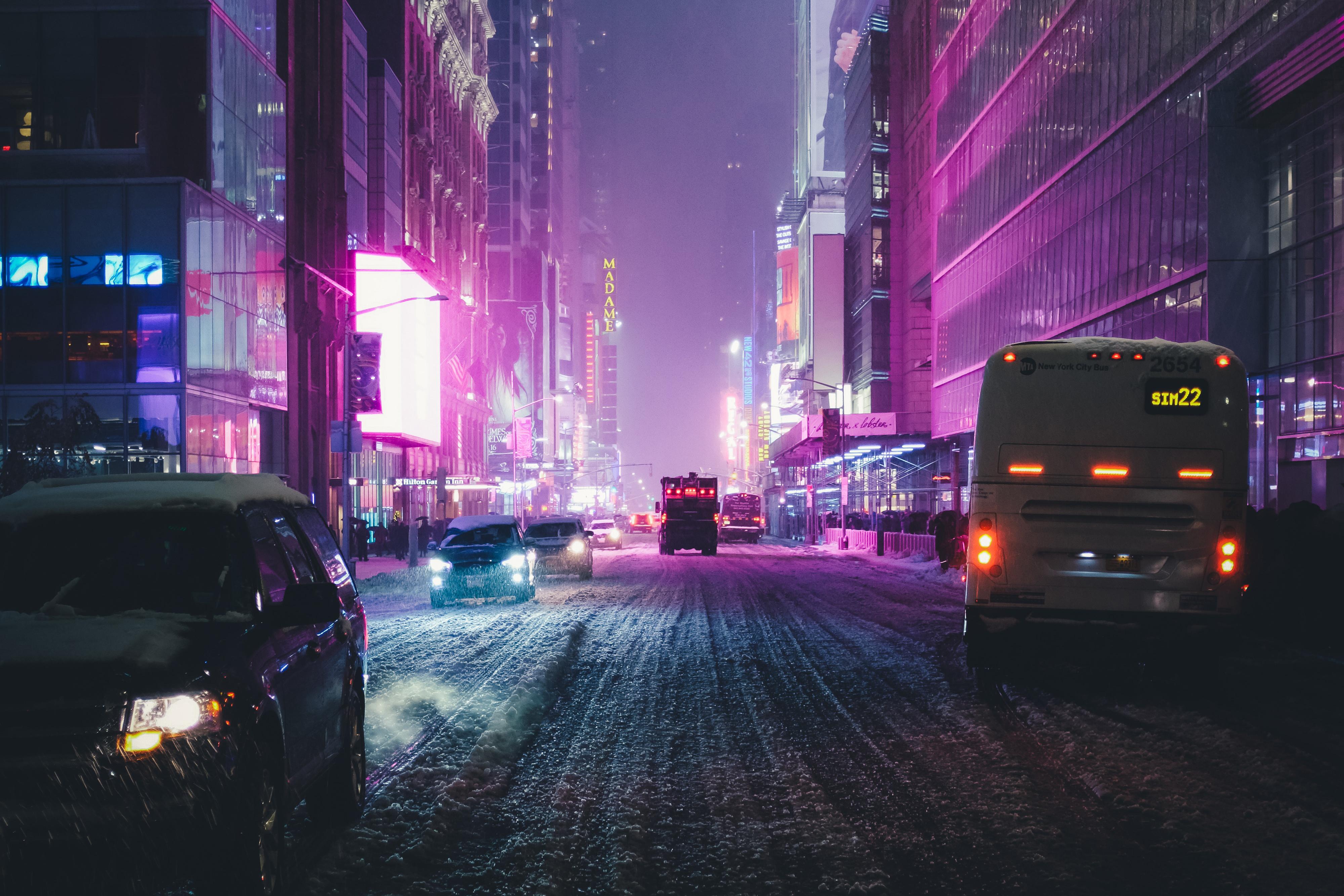 1366x768 Night City Street Neon Lights 4k 1366x768 Resolution HD