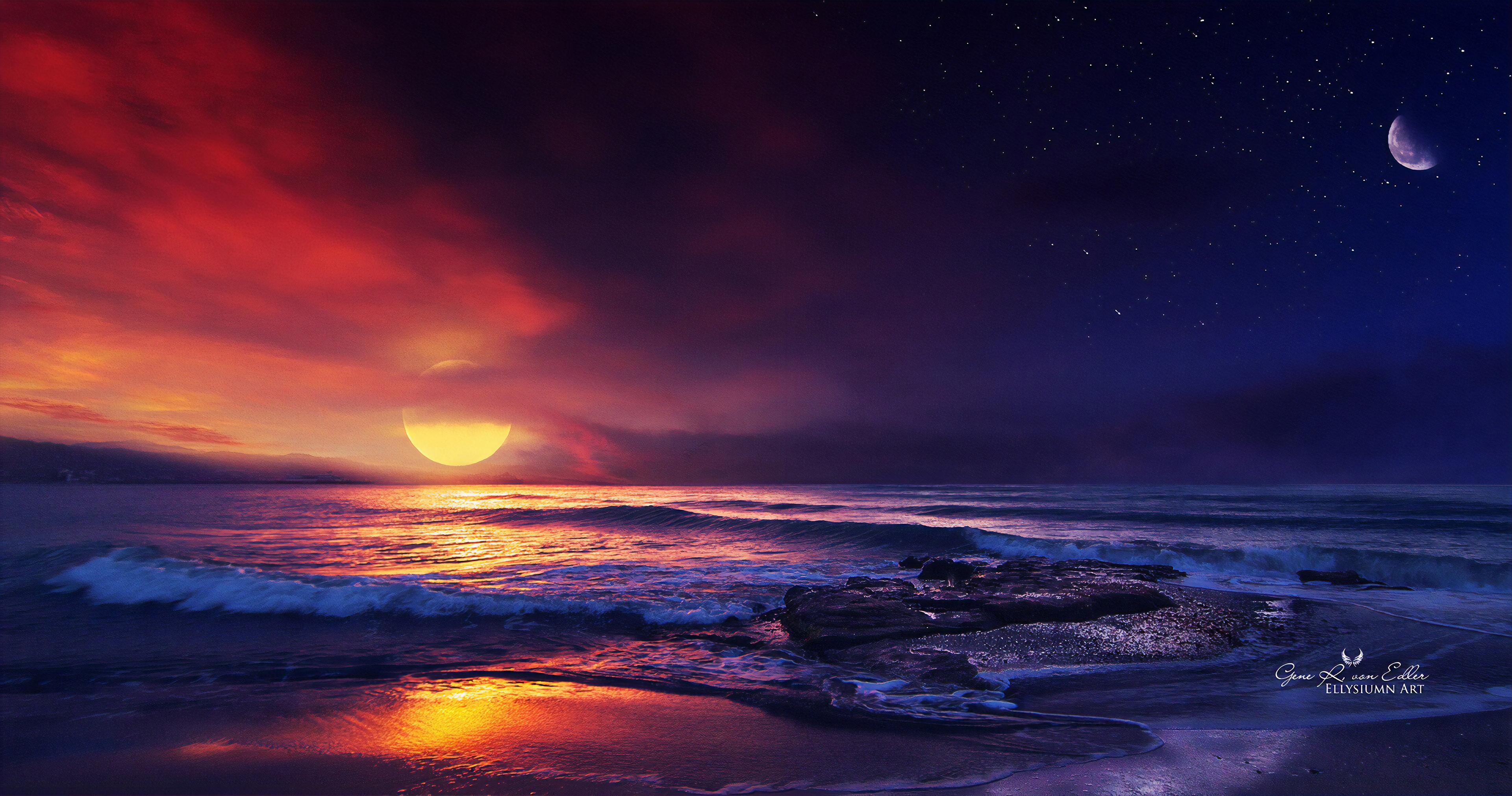 ocean sunset illustration  hd artist  4k wallpapers