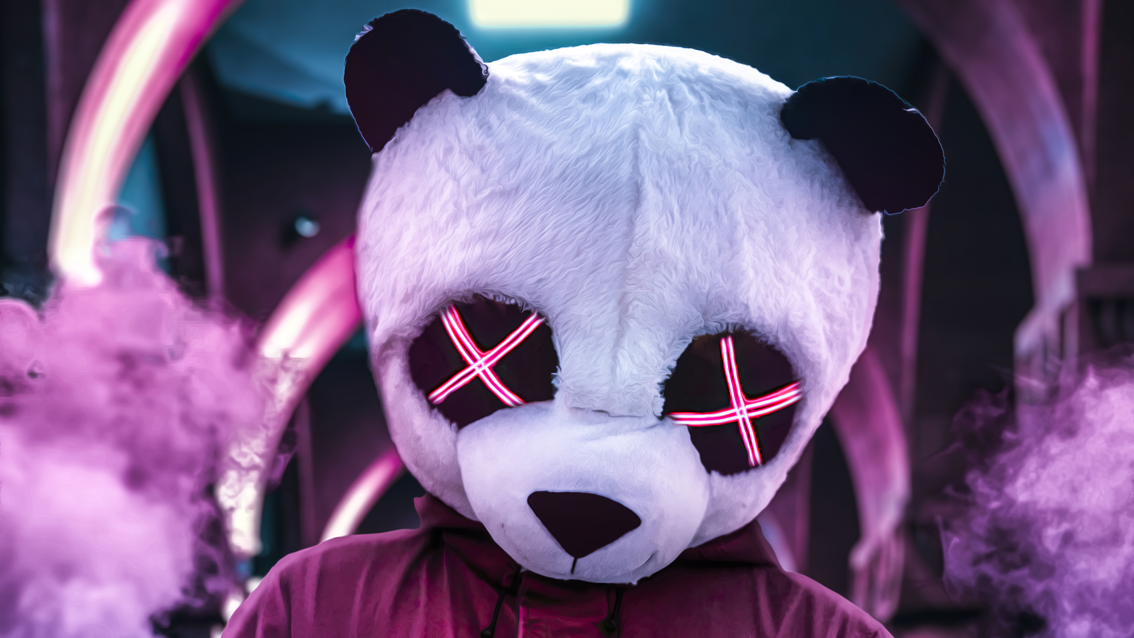 Panda Neon Eyes 4k Hd Artist 4k Wallpapers Images Backgrounds Photos And Pictures