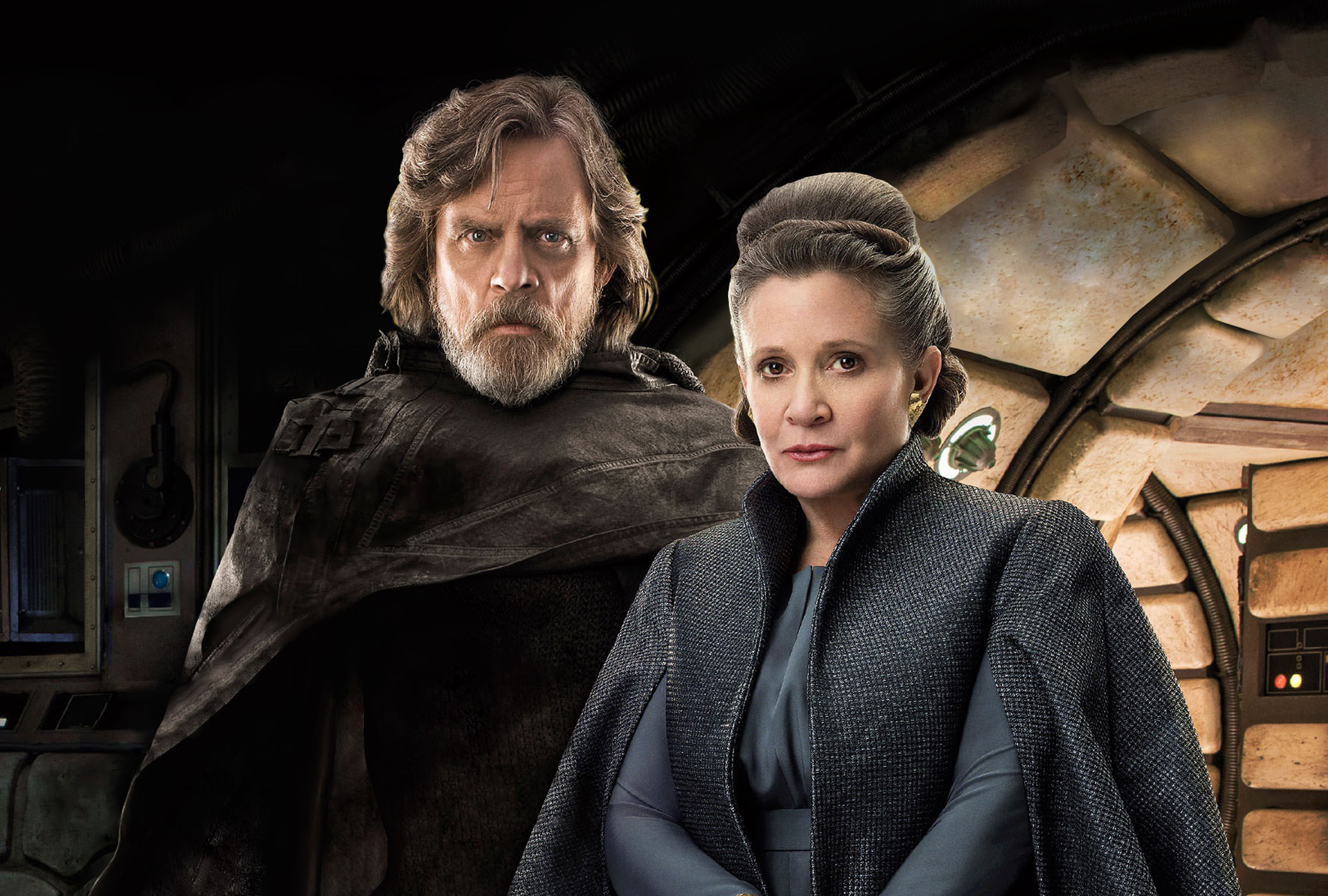 princess leia and luke skywalker in star wars the last jedi movie qn