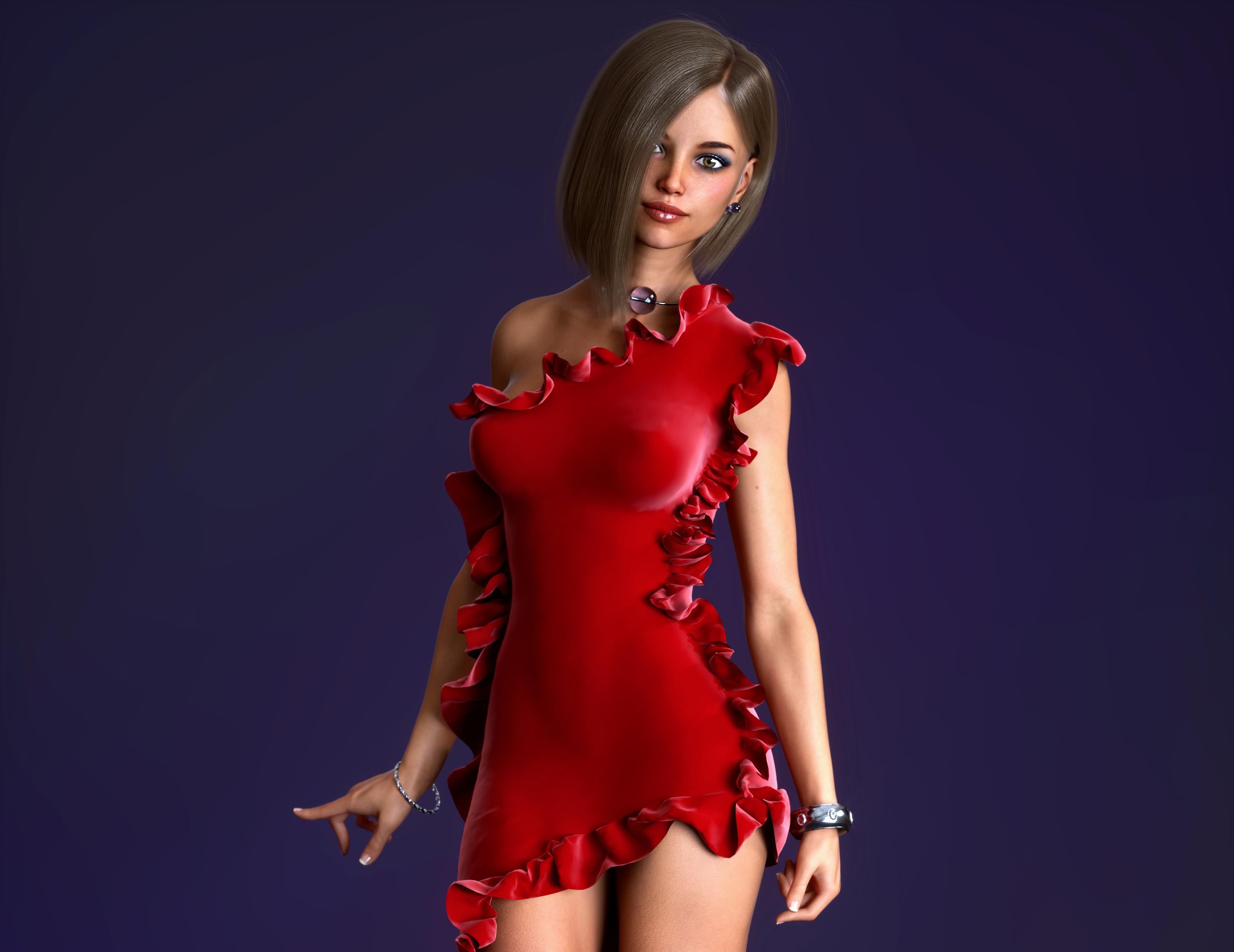 Red Dress Girl 3D Cgi 4k, HD Artist, 4k