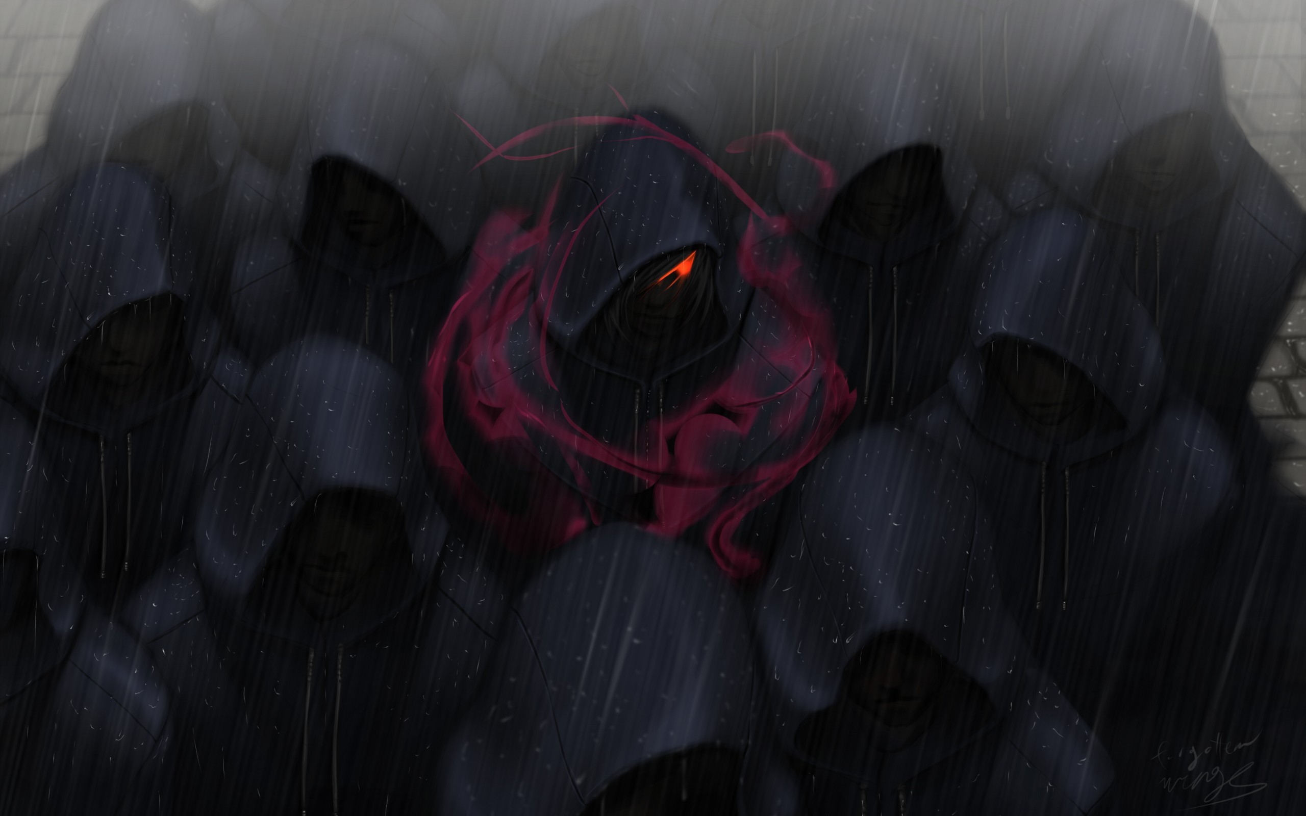 2560x1080 Red Eyes Crowds Rain Hoods 2560x1080 Resolution Hd